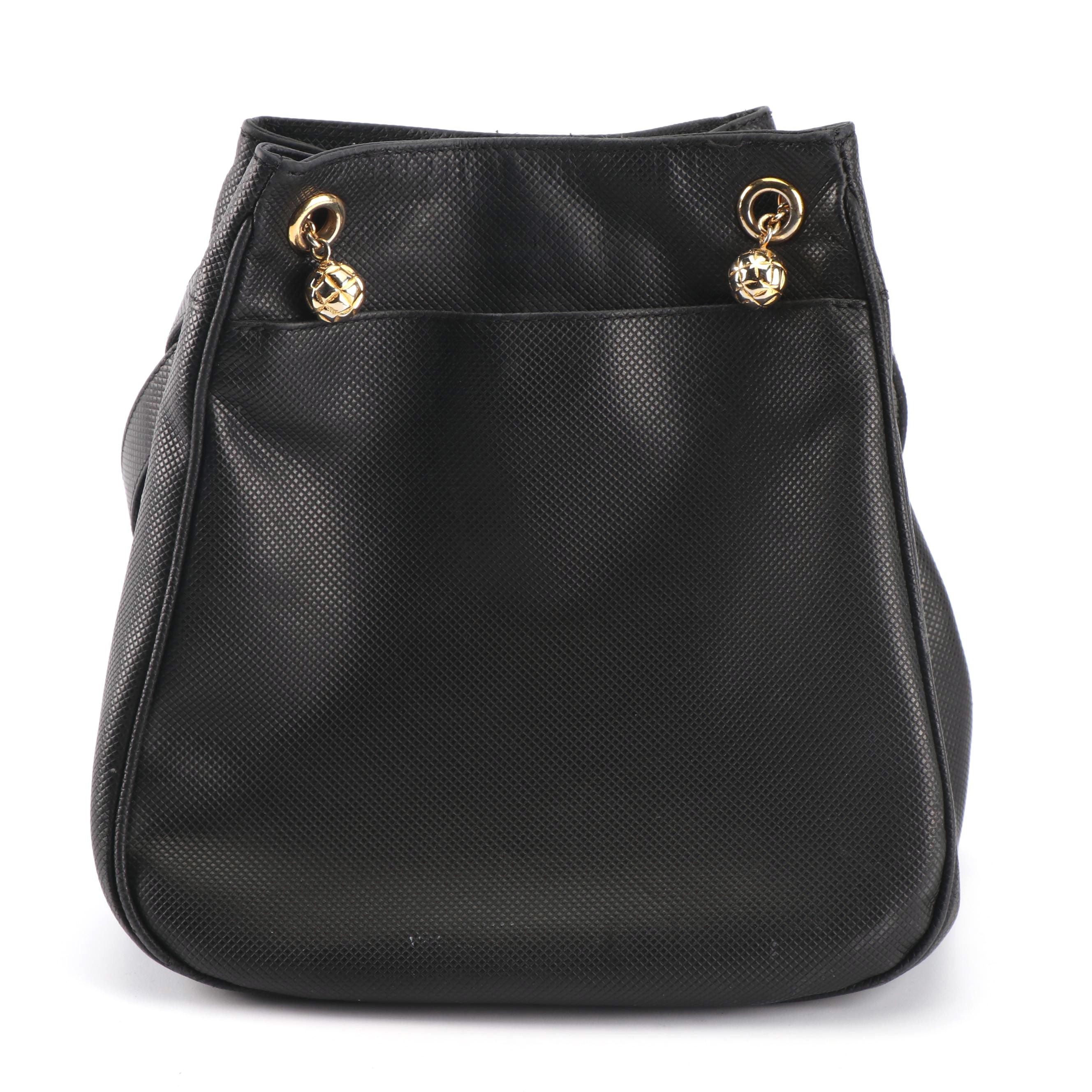 Bottega Veneta Black Embossed Leather Handbag