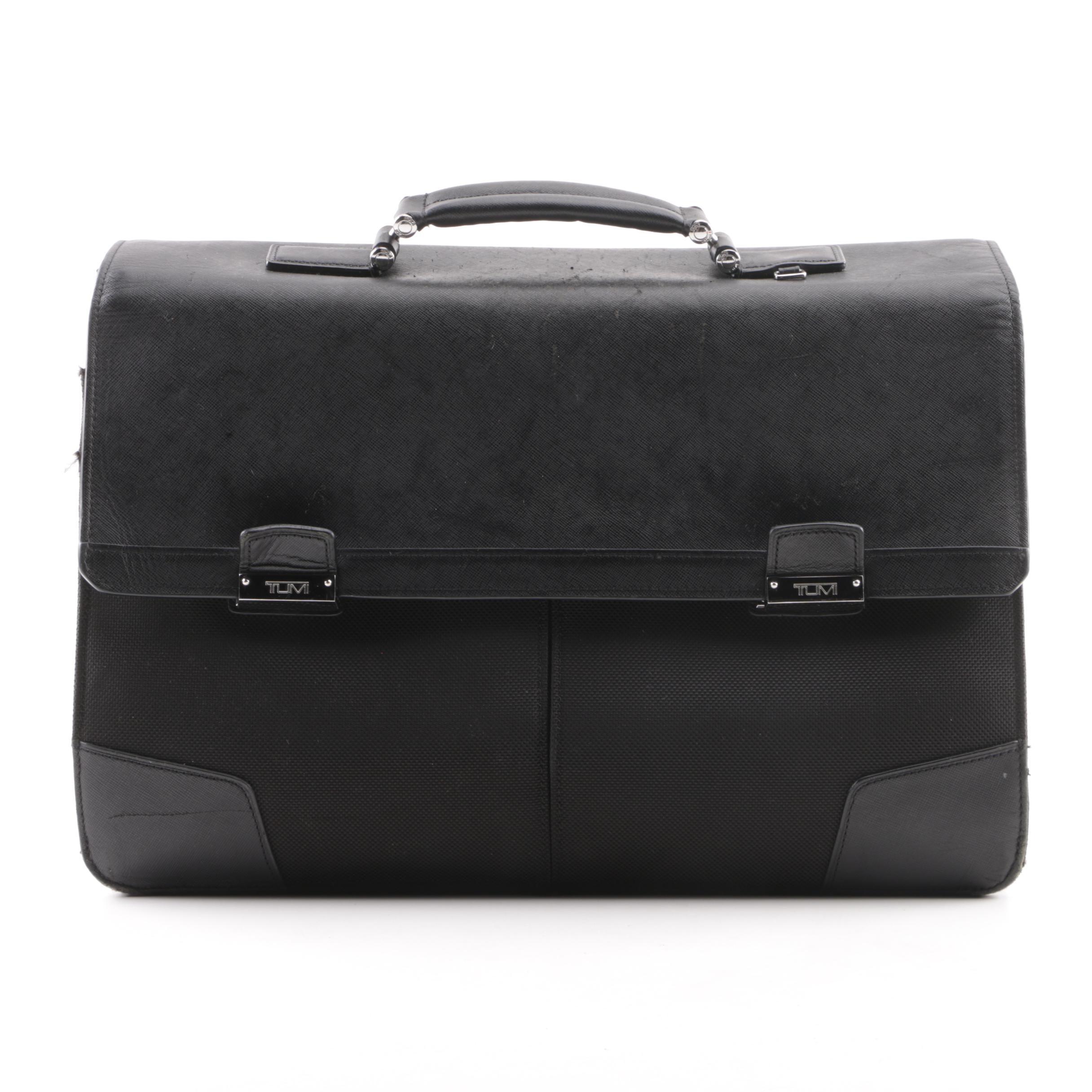 Tumi Black Saffiano Leather and Nylon Briefcase