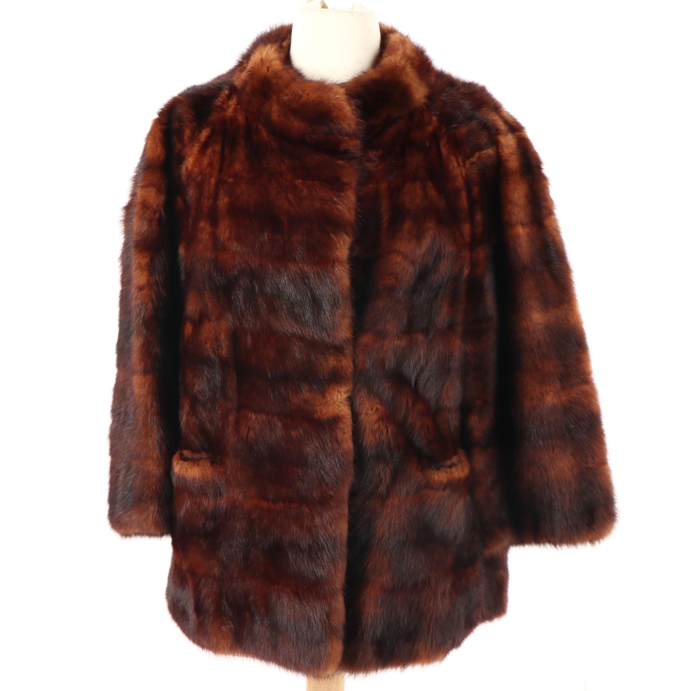 Koslow's Furs of Fort Worth Dyed Mahogany Kolinsky Fur Coat