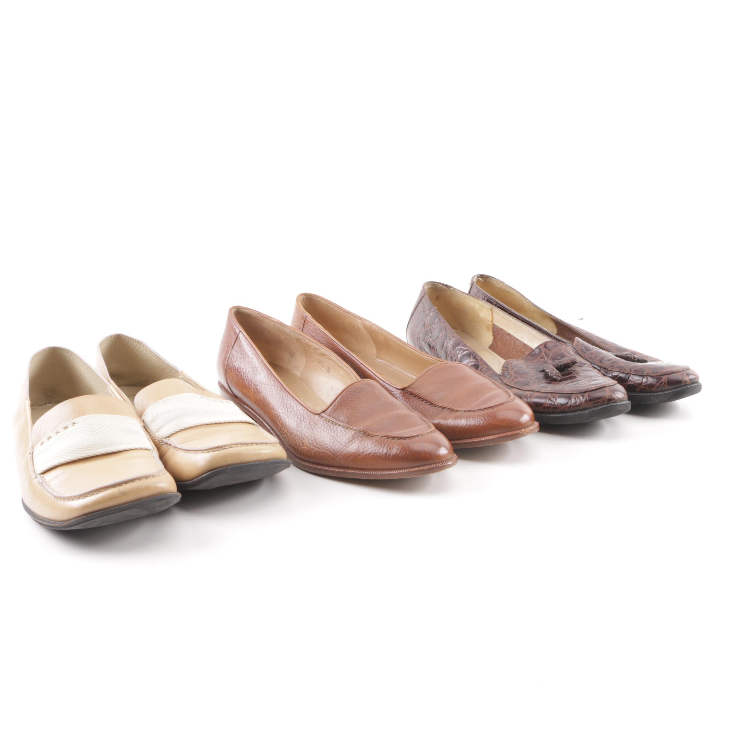 Women's Prada and Salvatore Ferragamo Leather Footwear