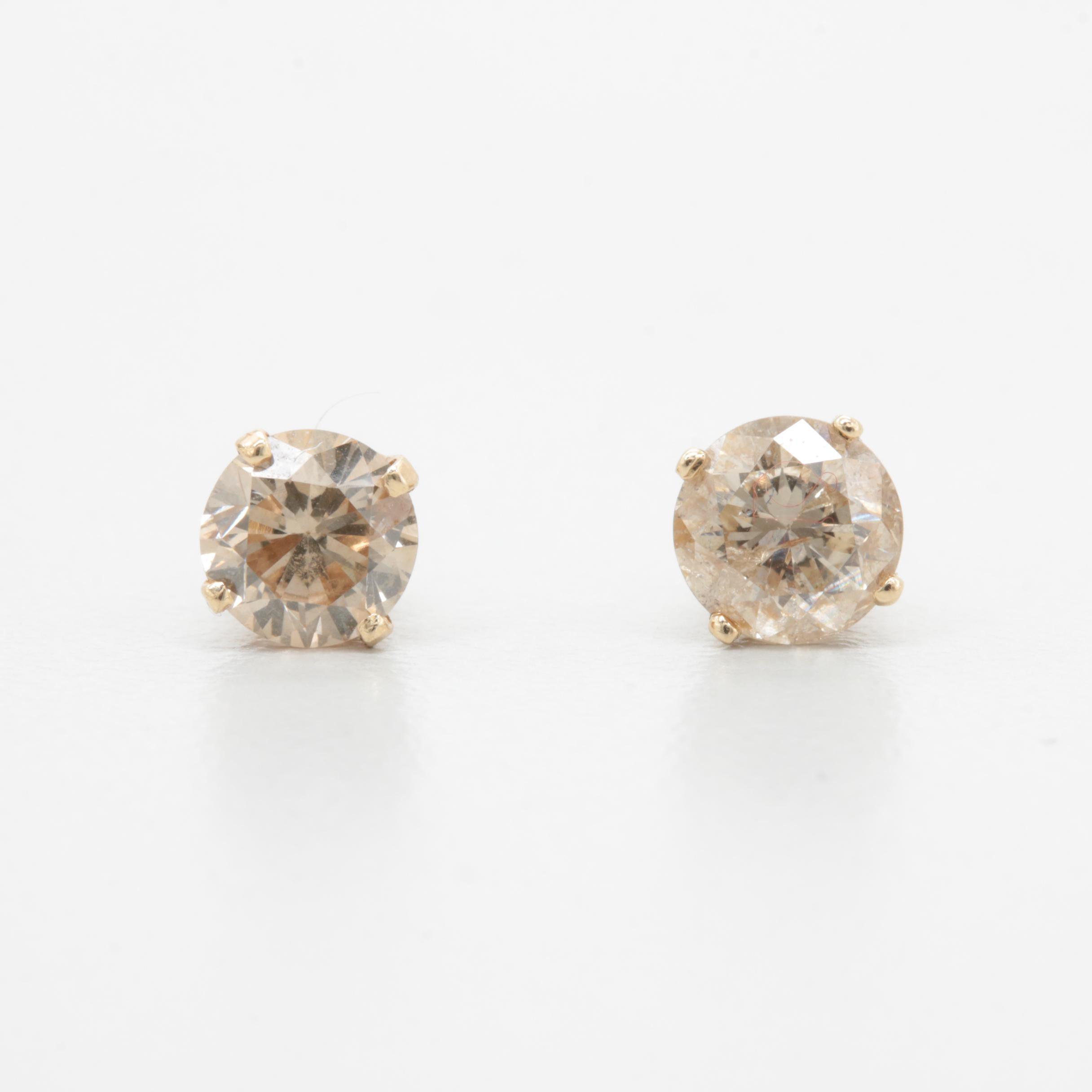 14K Yellow Gold 1.00 CTW Diamond Stud Earrings