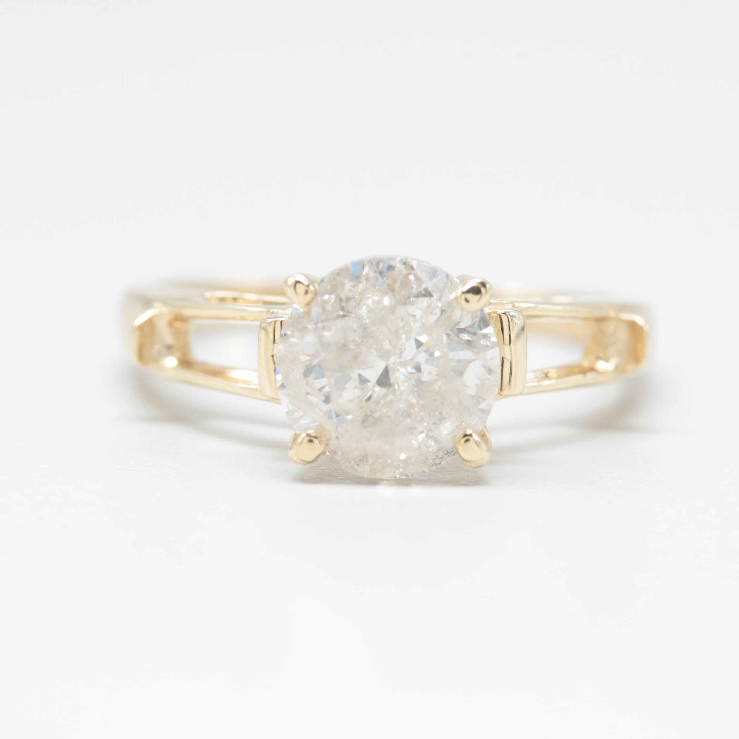 14K Yellow Gold 1.96 CT Diamond Ring Partial Mount