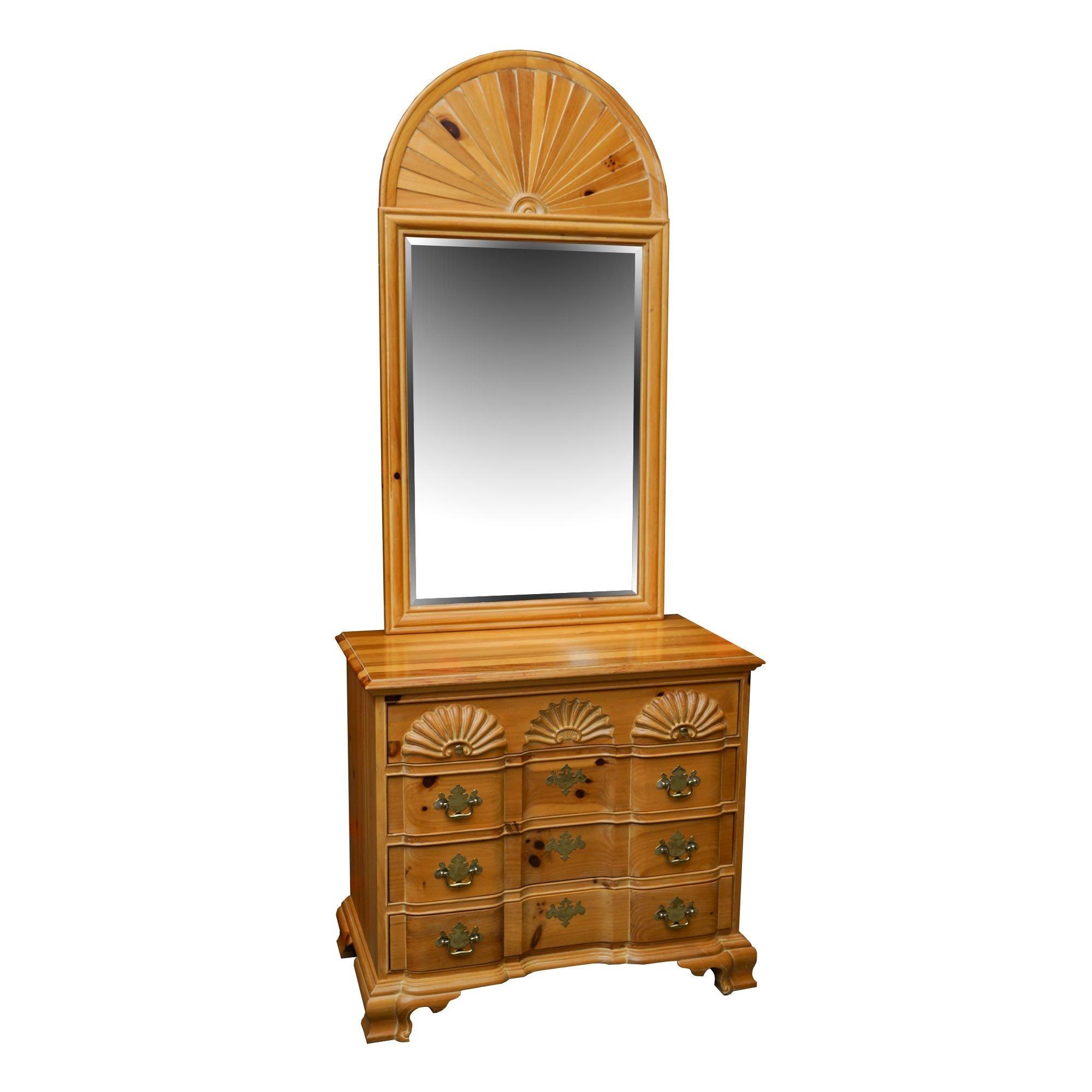 Vintage Federal Style Pine Dresser with Mirror