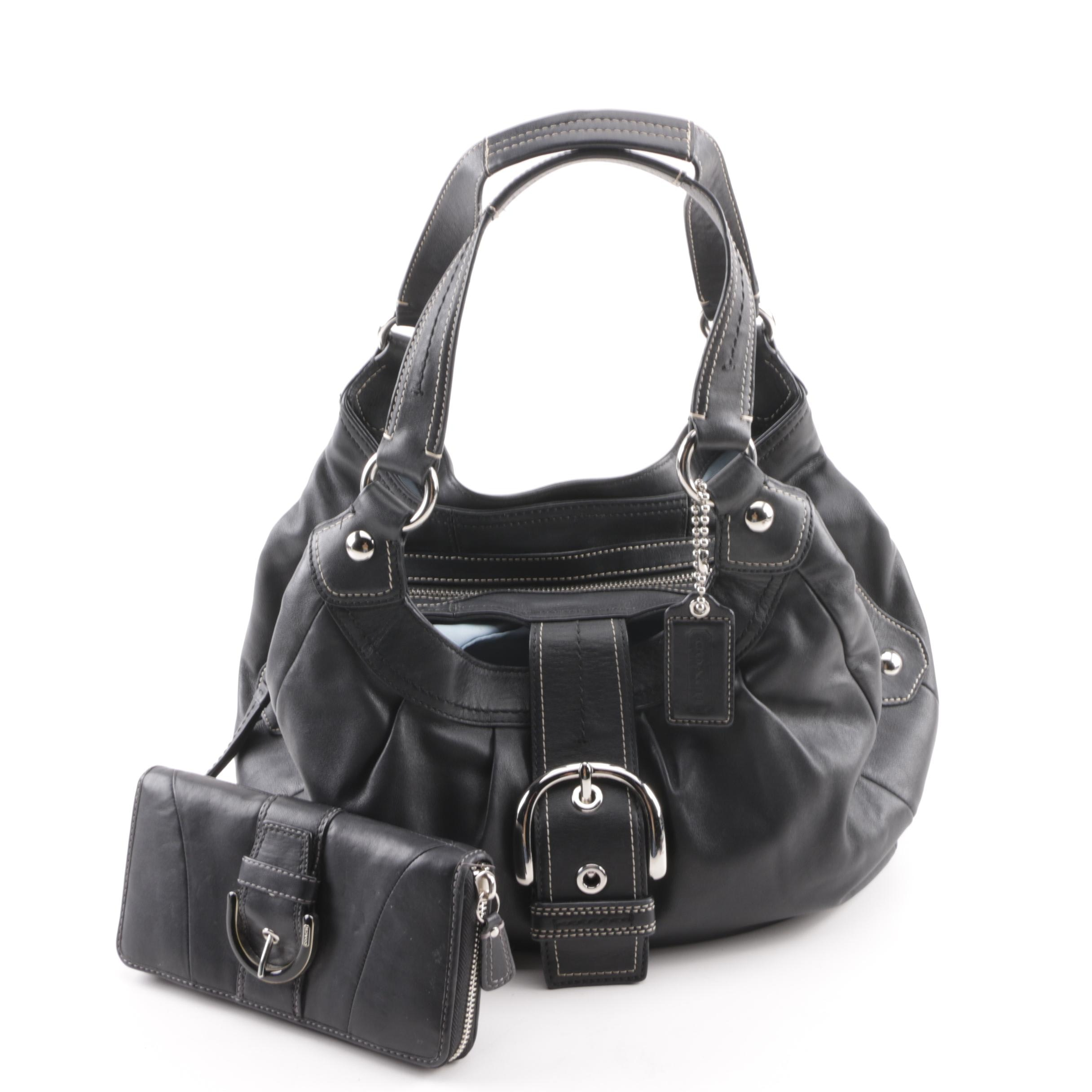Coach Soho Black Leather Hobo Bag and Black Leather Wallet