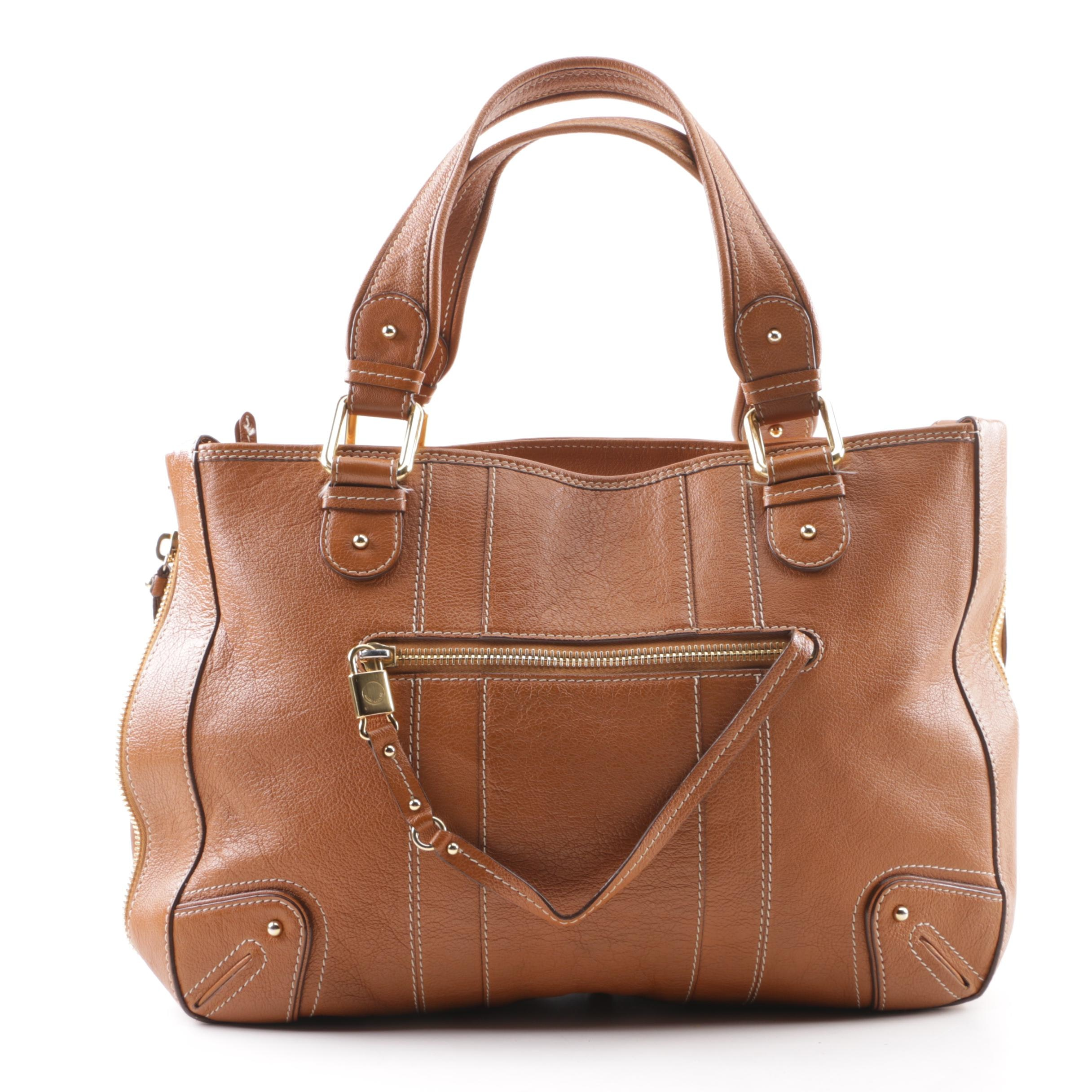 Marc Jacobs Brown Leather Zip-Around Expandable Satchel