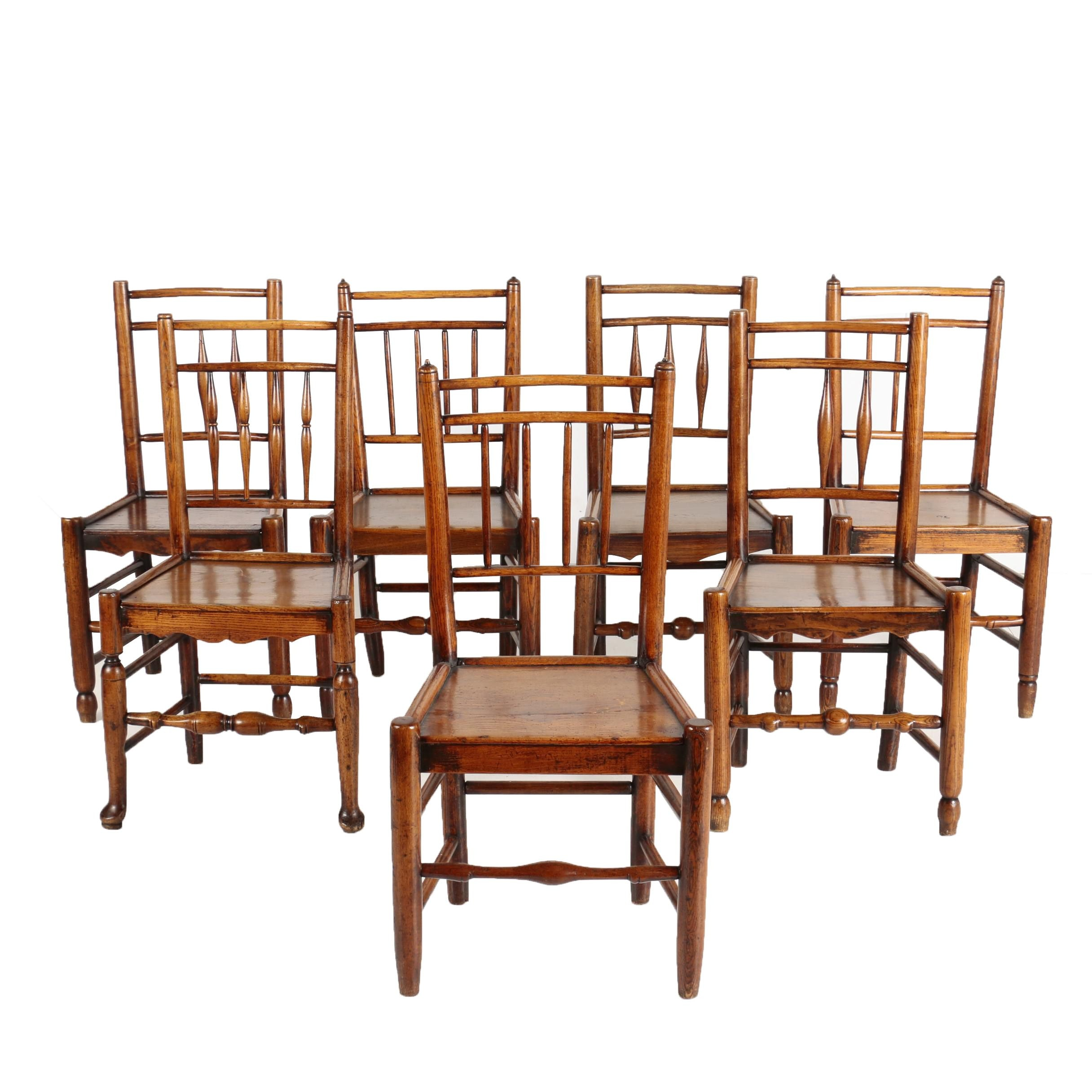 Matched Set of Seven French Provincial Ash Dining Chairs, Late 19th Century
