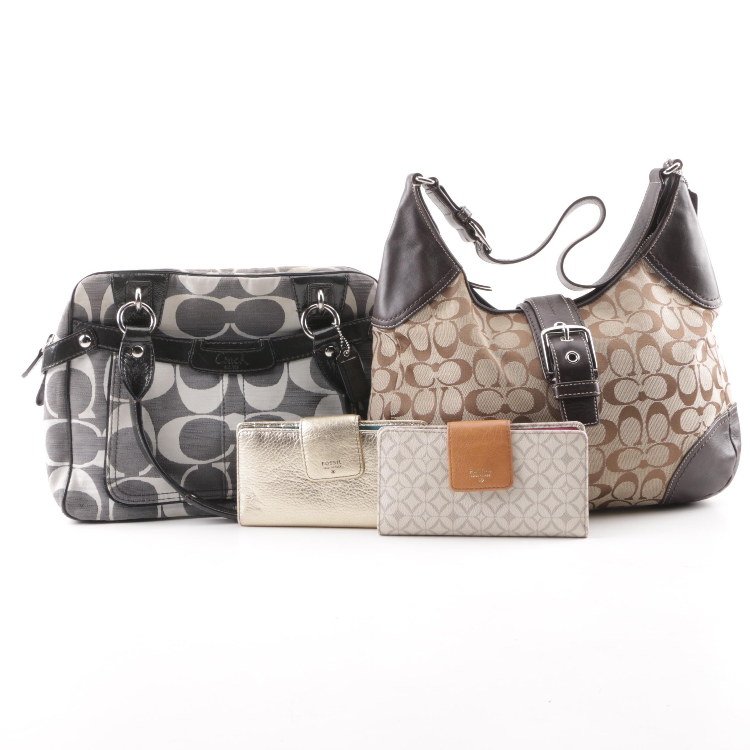 Coach Monogram Canvas Handbags and Fossil Wallets
