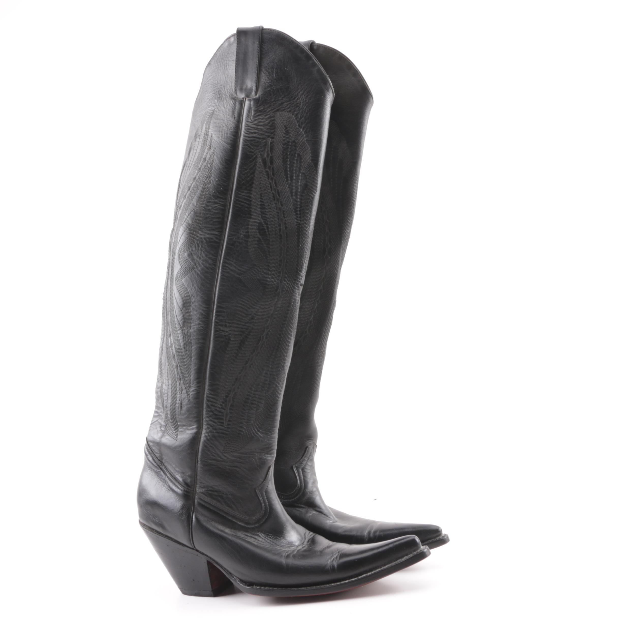 Women's Jones Black Leather Tall Western Boots