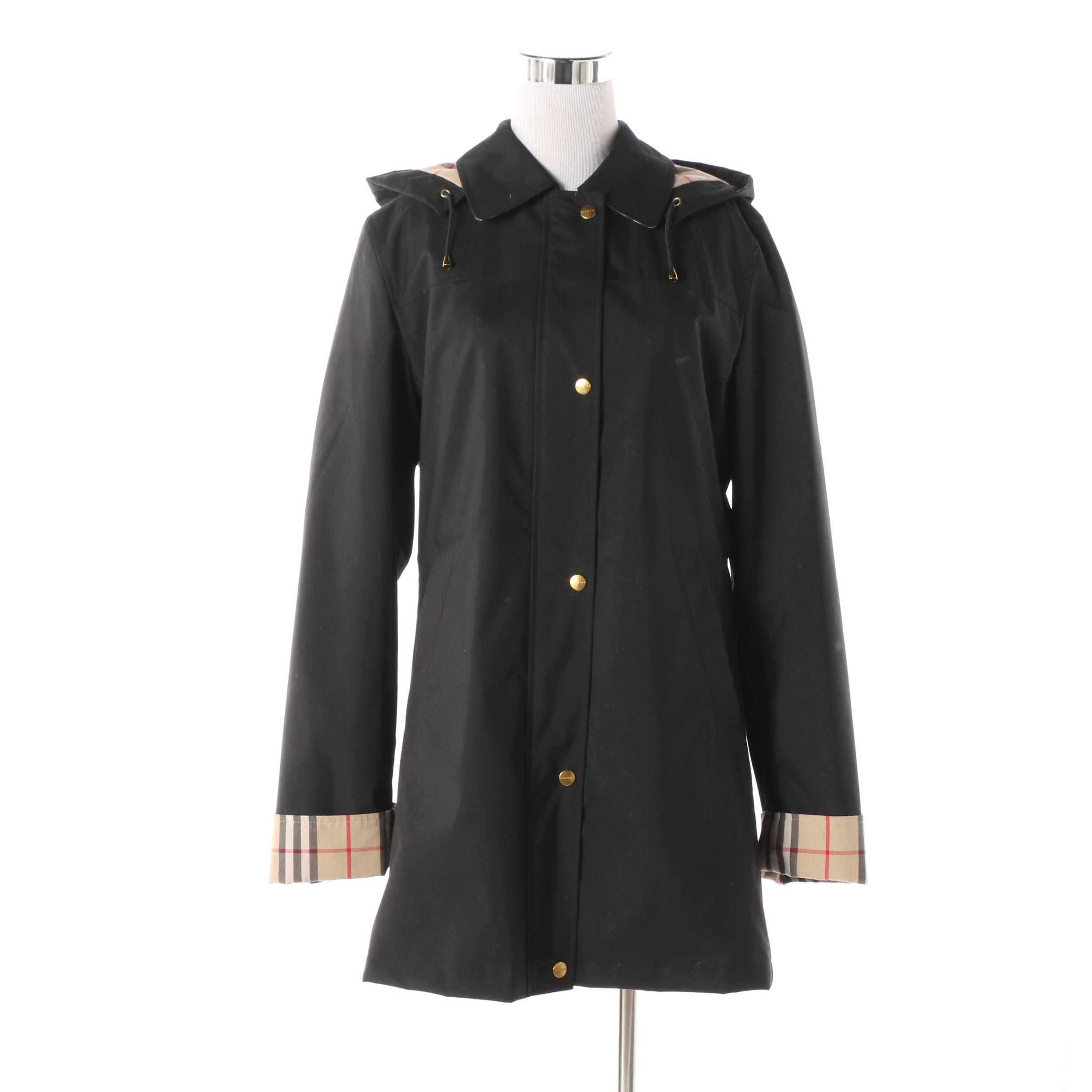 Women's Burberry London Kayla Black Rain Jacket with Removable Wool Lining