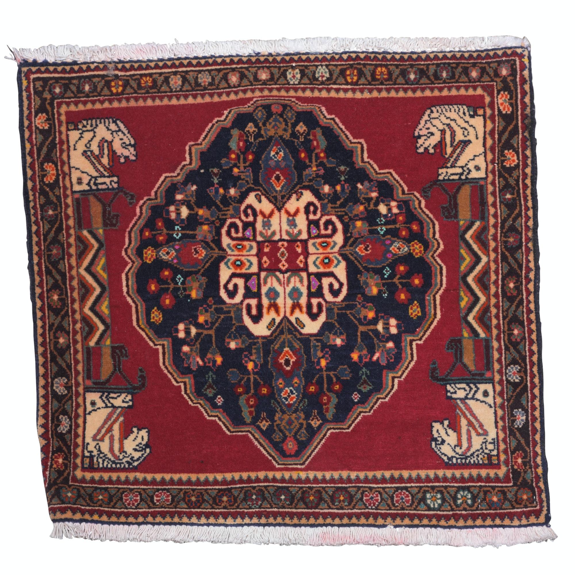 Hand-Knotted Persian Qashqai Wool Mat, possibly a Vagireh