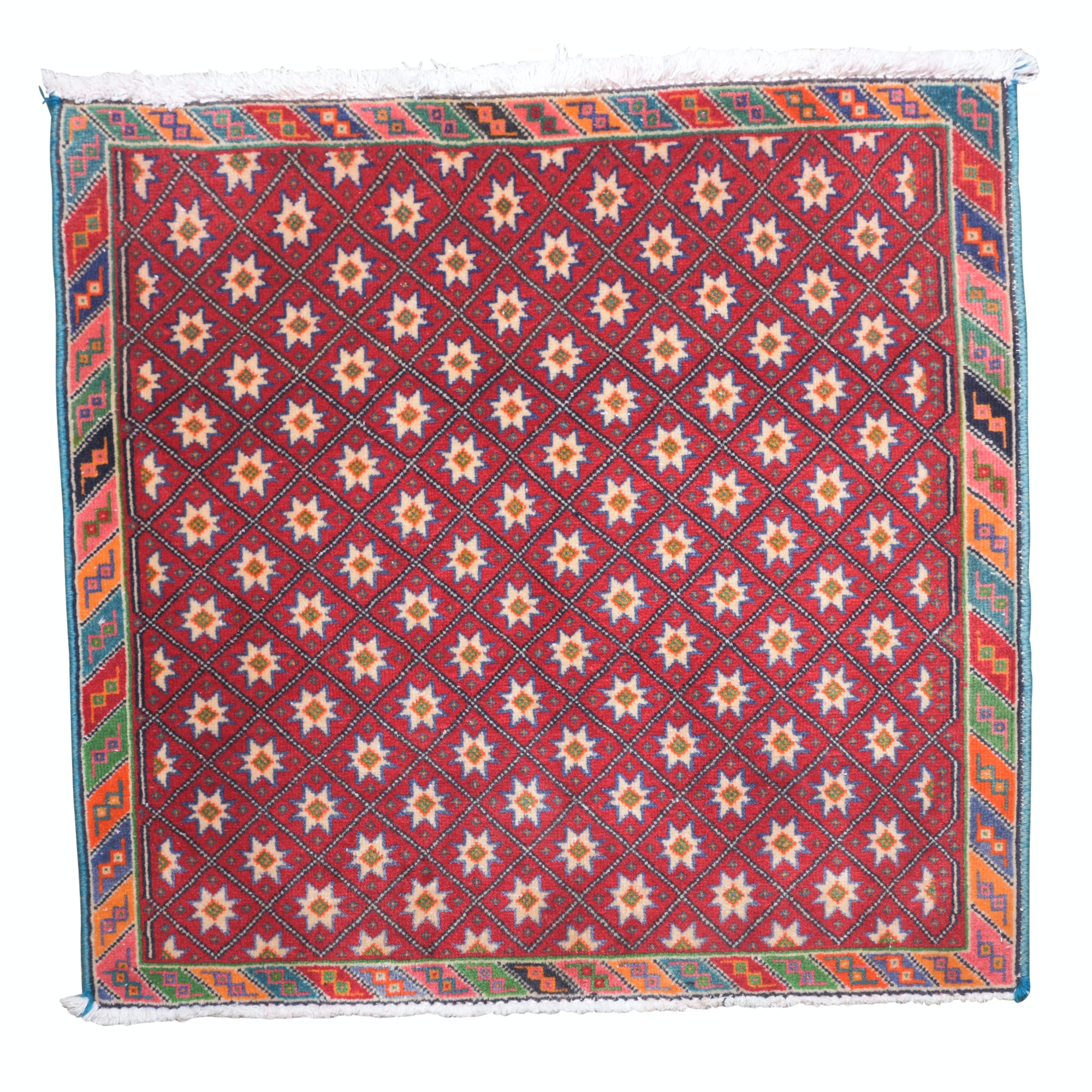 Hand-Knotted indo-Persian Floor Mat