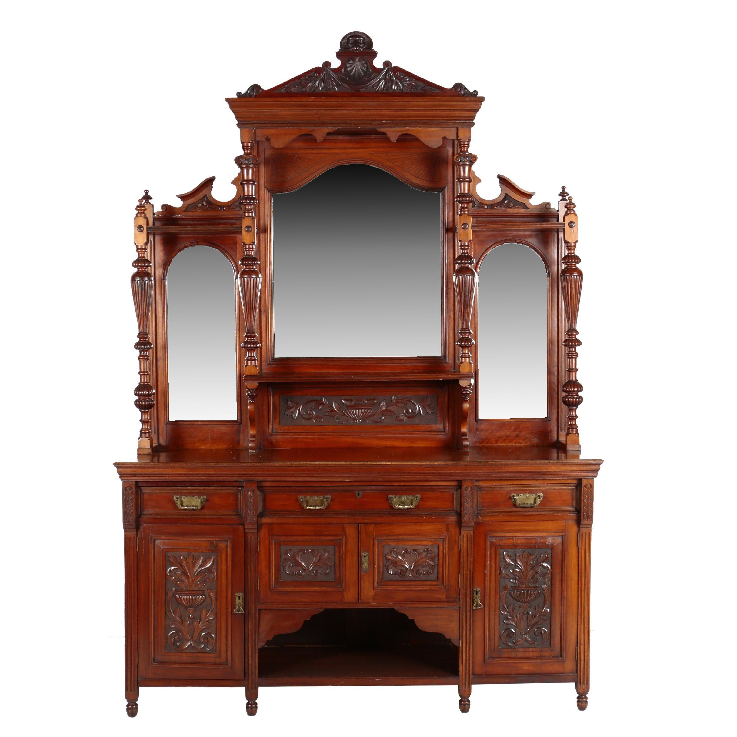 Victorian Walnut Sideboard with Mirrored Etagere Top, Late 19th Century