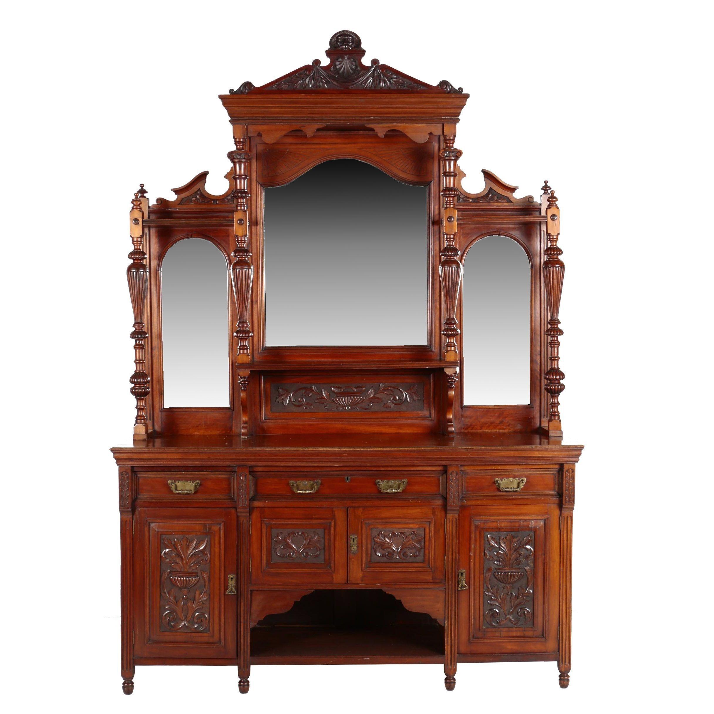 Victorian Walnut Mirror-Back Sideboard, Circa 1870