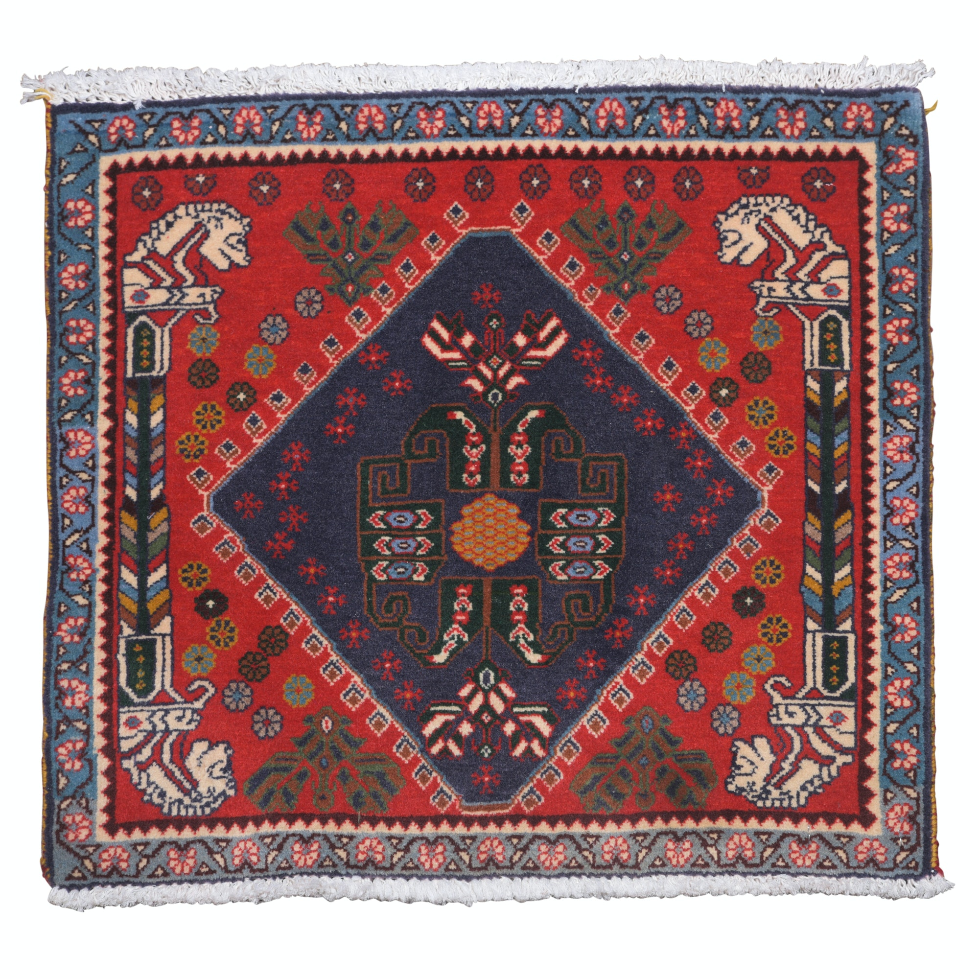 Hand-Knotted Persian Qashqai Wool Floor Mat