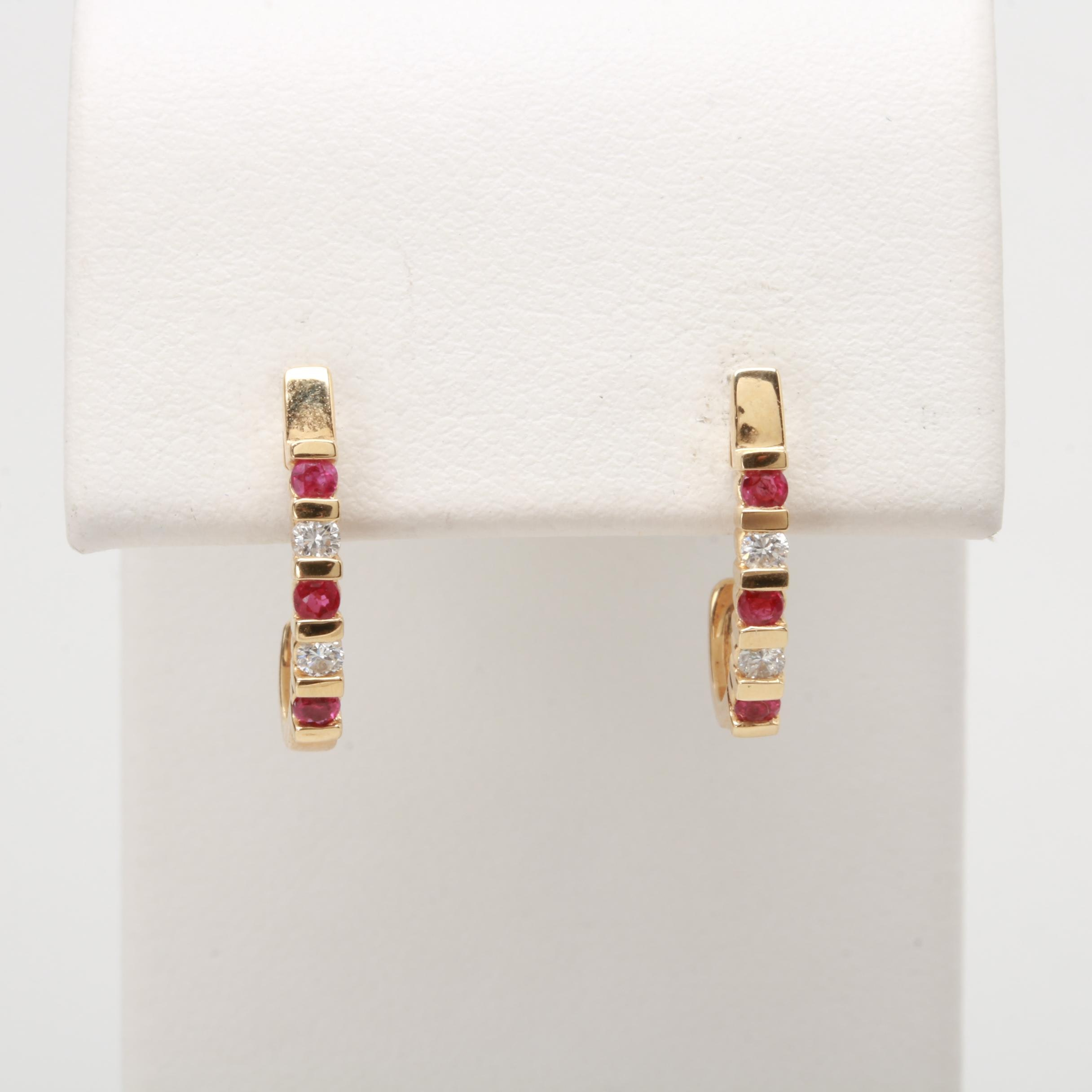 14K Yellow Gold Diamond and Ruby J-Hoop Earrings