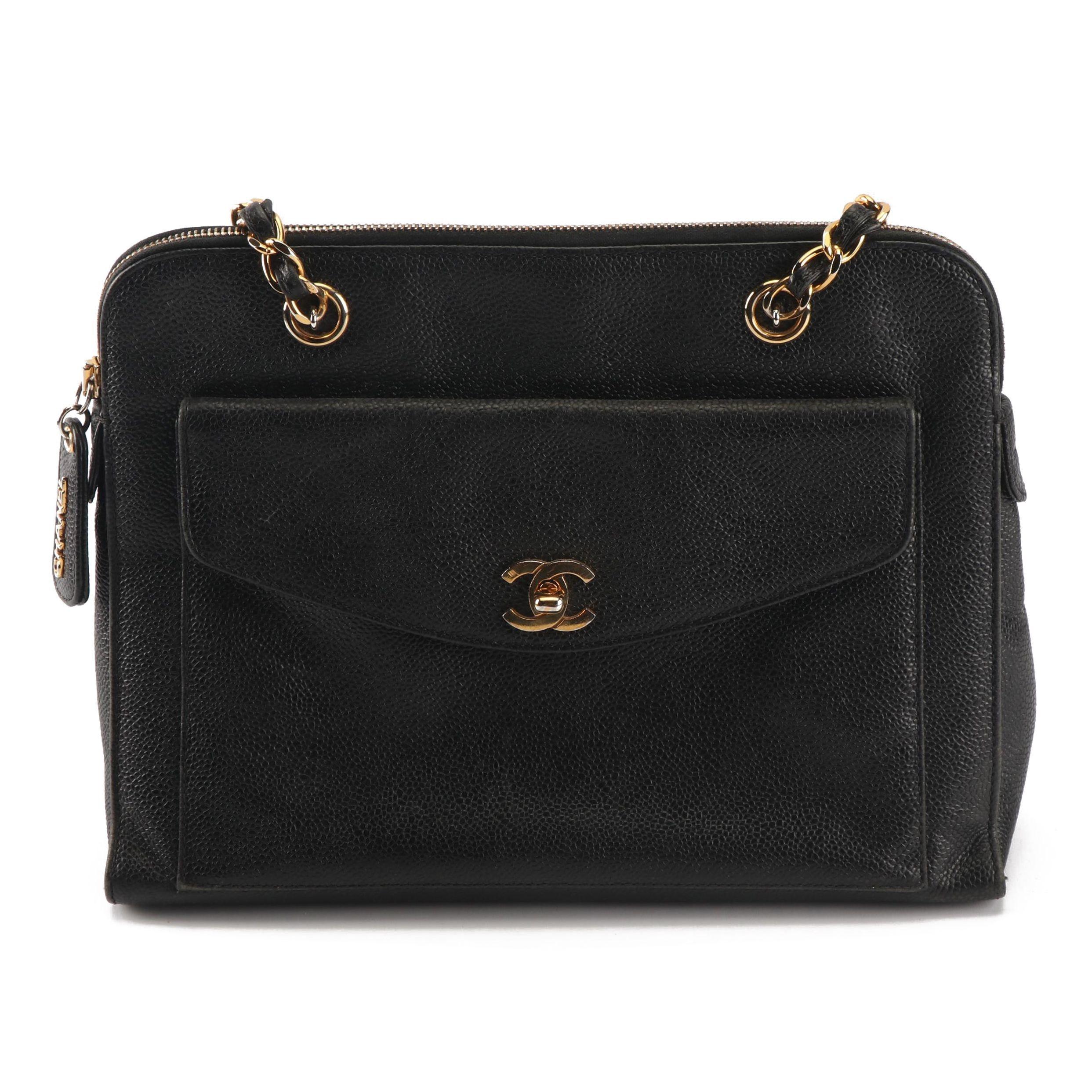 Vintage Chanel Black Caviar Leather CC Chain Handbag