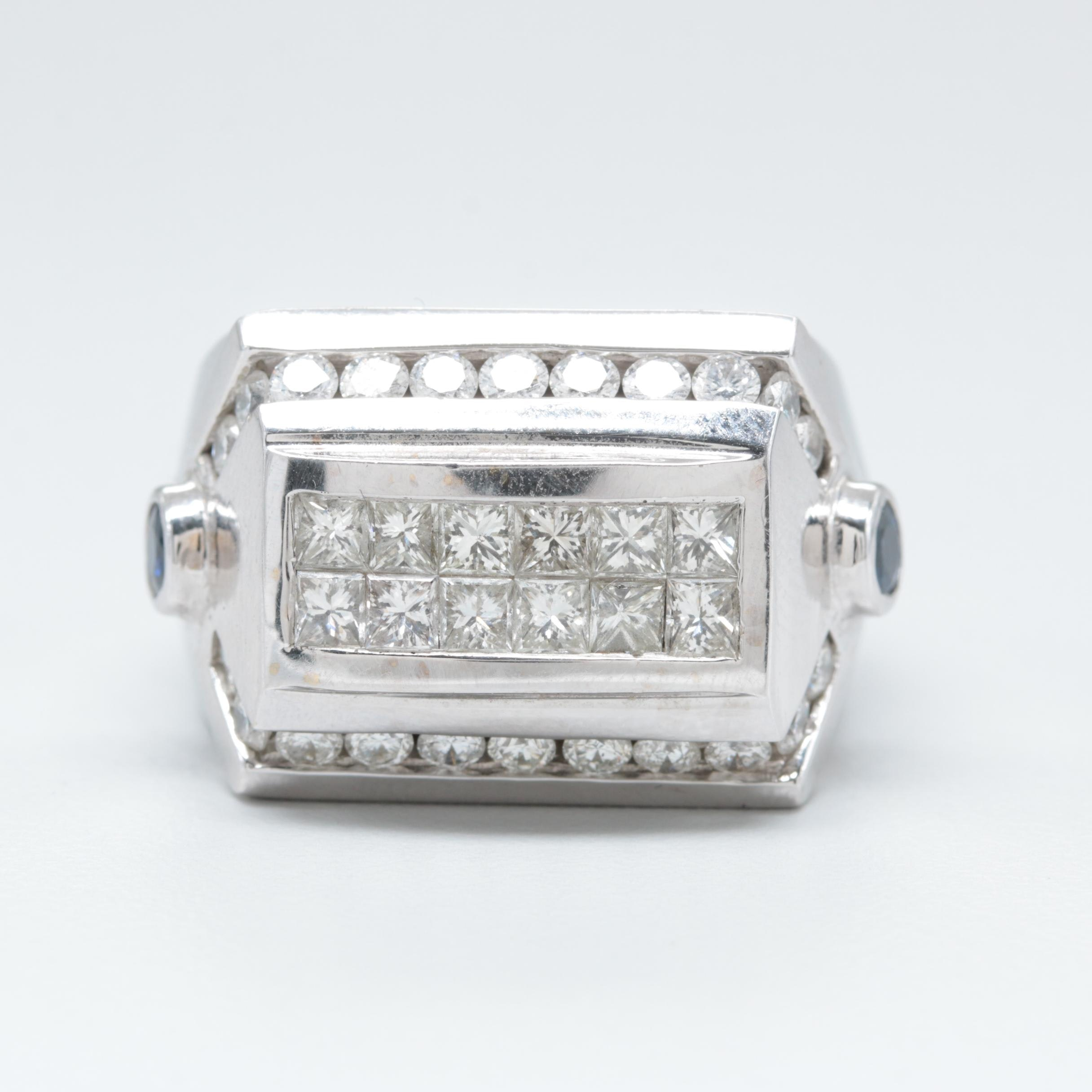 18K White Gold 2.66 CTW Diamond and Sapphire Ring