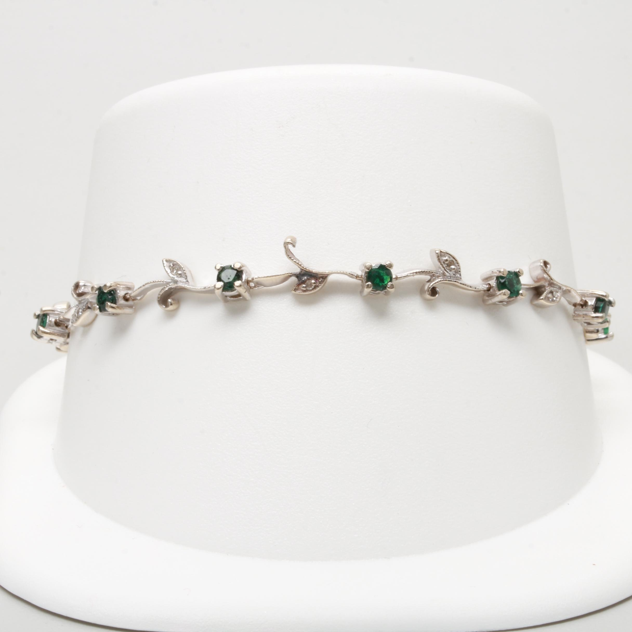 14K White Gold Diamond and Emerald Floral Link Bracelet