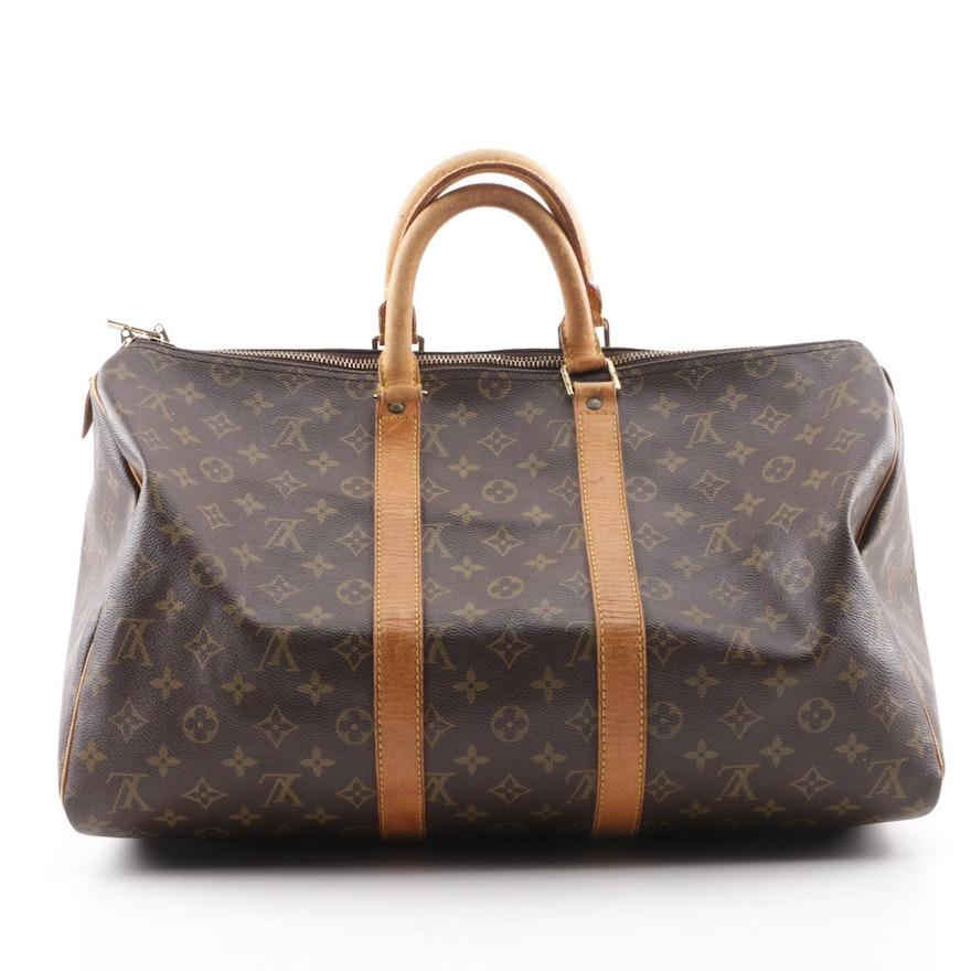 059a82a48bd4 1992 Vintage Louis Vuitton Paris Monogram Canvas Keepall 45 Duffle Bag ...