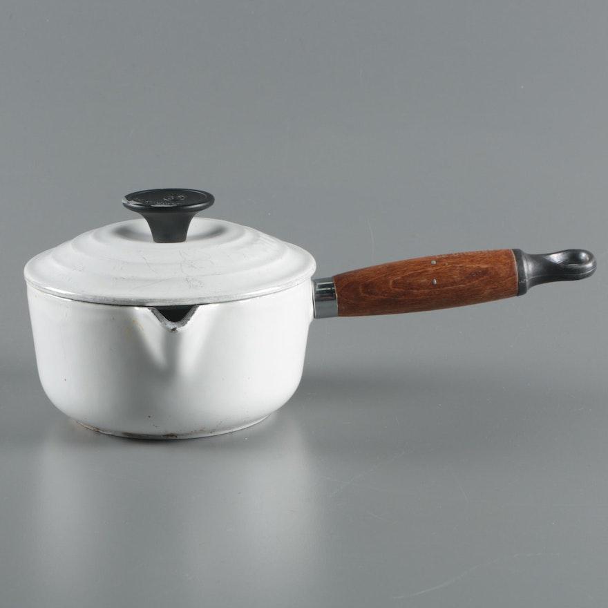 Le Creuset White Enameled Cast Iron Sauce Pan Ebth