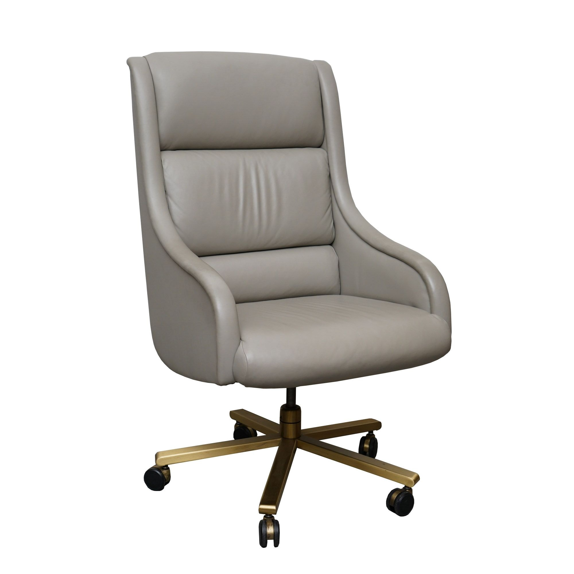 Grey Leather Rolling Swivel Chair by Baker