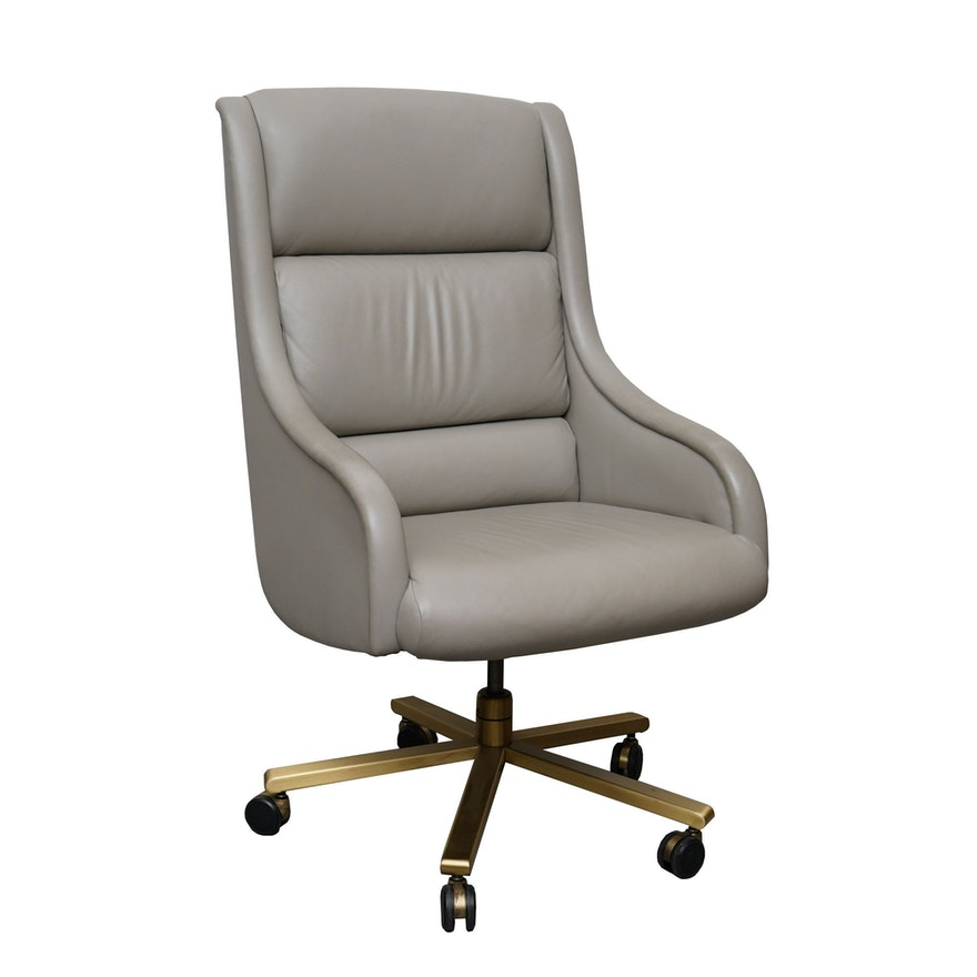 Excellent Grey Leather Rolling Swivel Chair By Baker Ocoug Best Dining Table And Chair Ideas Images Ocougorg