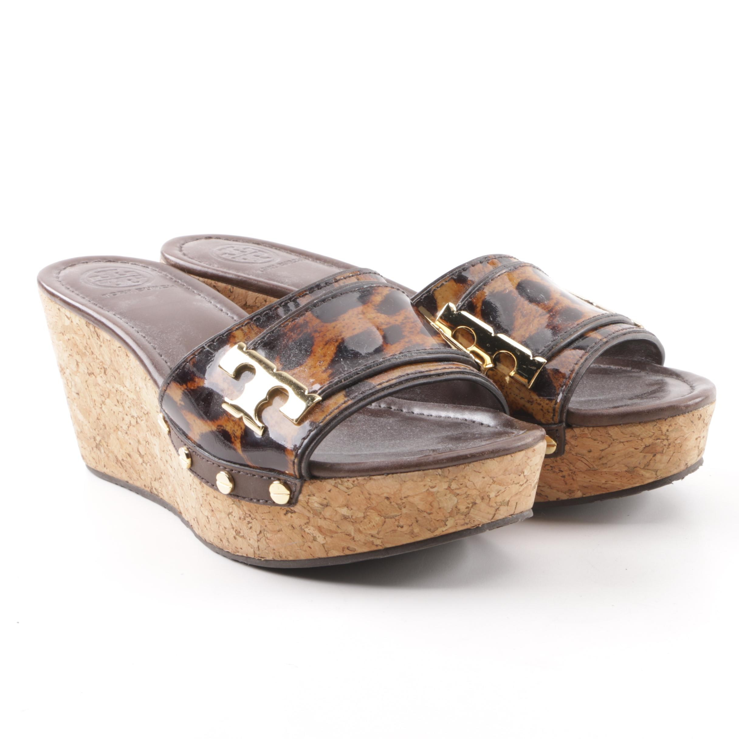 Tory Burch Animal Print Patent Leather Slide Wedges