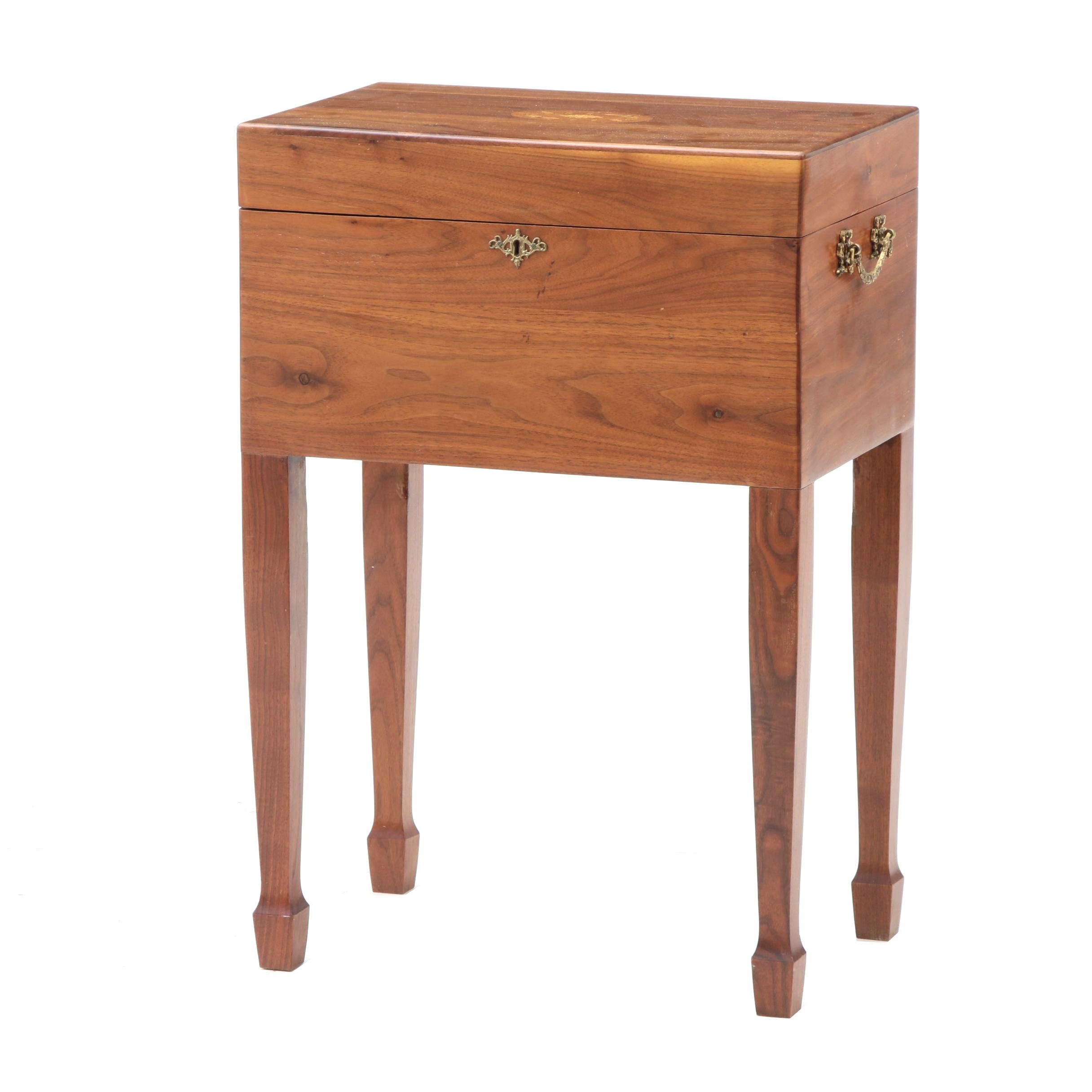 Cellarette Side Table with Marquetry in Walnut