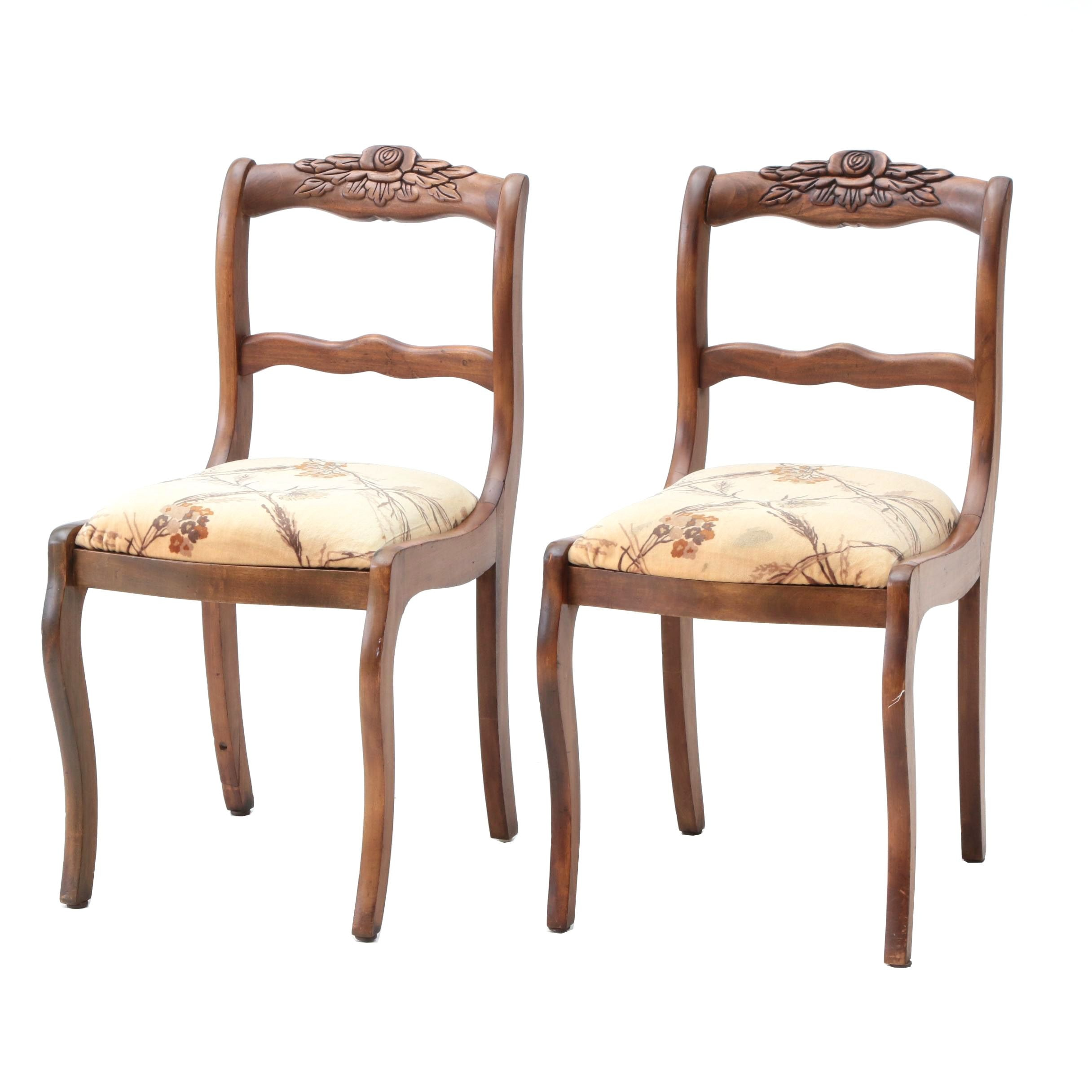 Victorian Style Upholstered Side Chairs