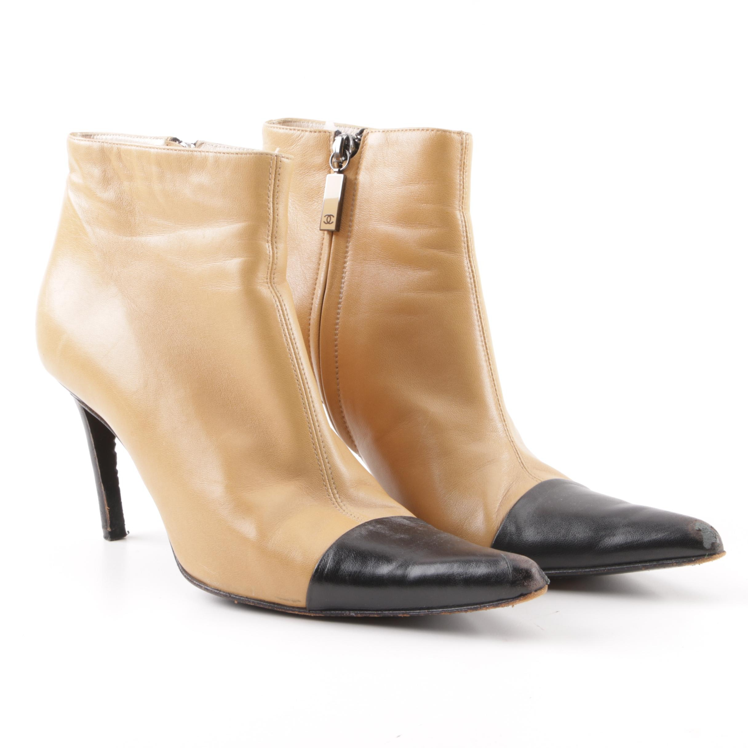 Chanel Two-Tone Black and Camel Color Pointed Capped Toe Booties