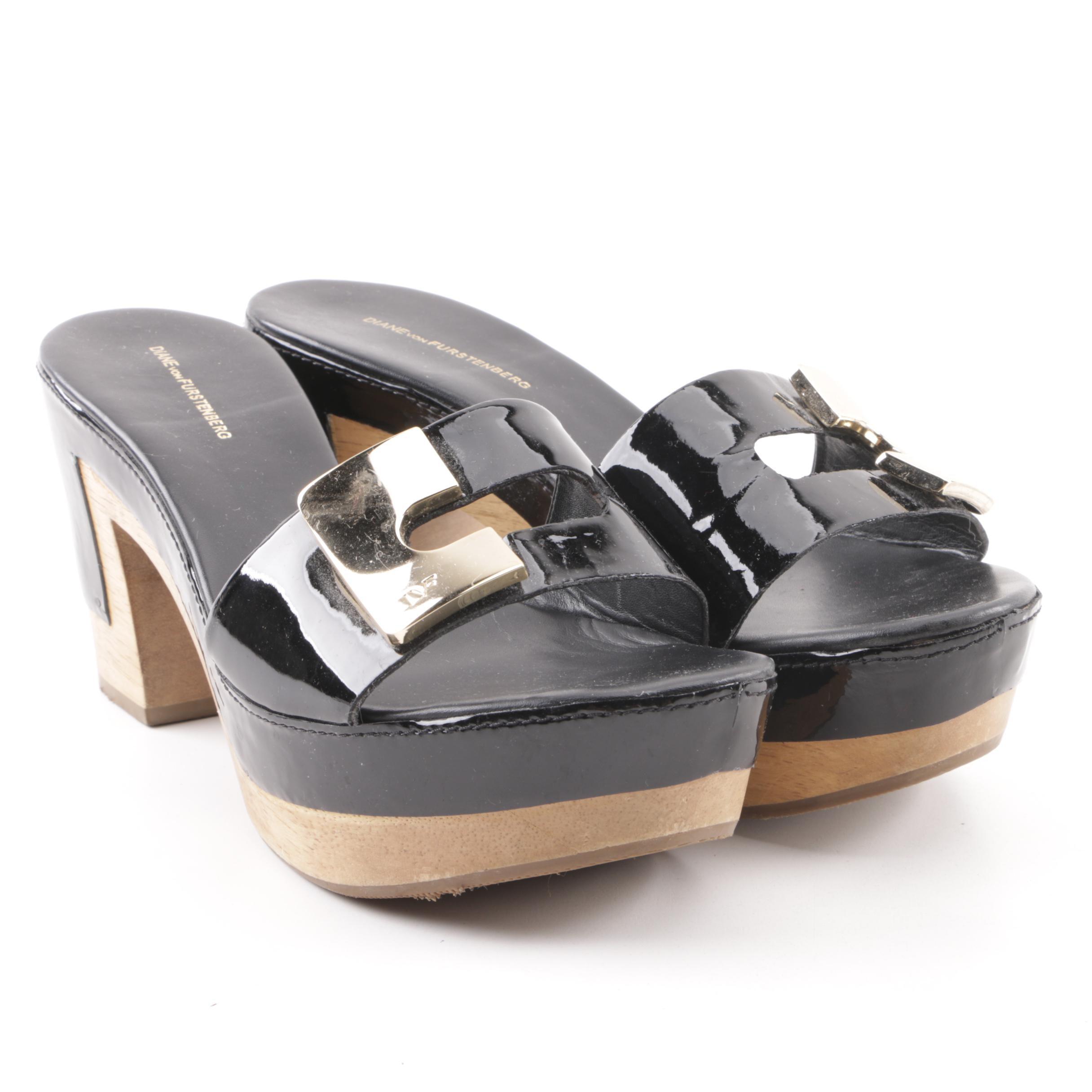 Diane von Furstenberg Black Patent Leather Platform Sandals