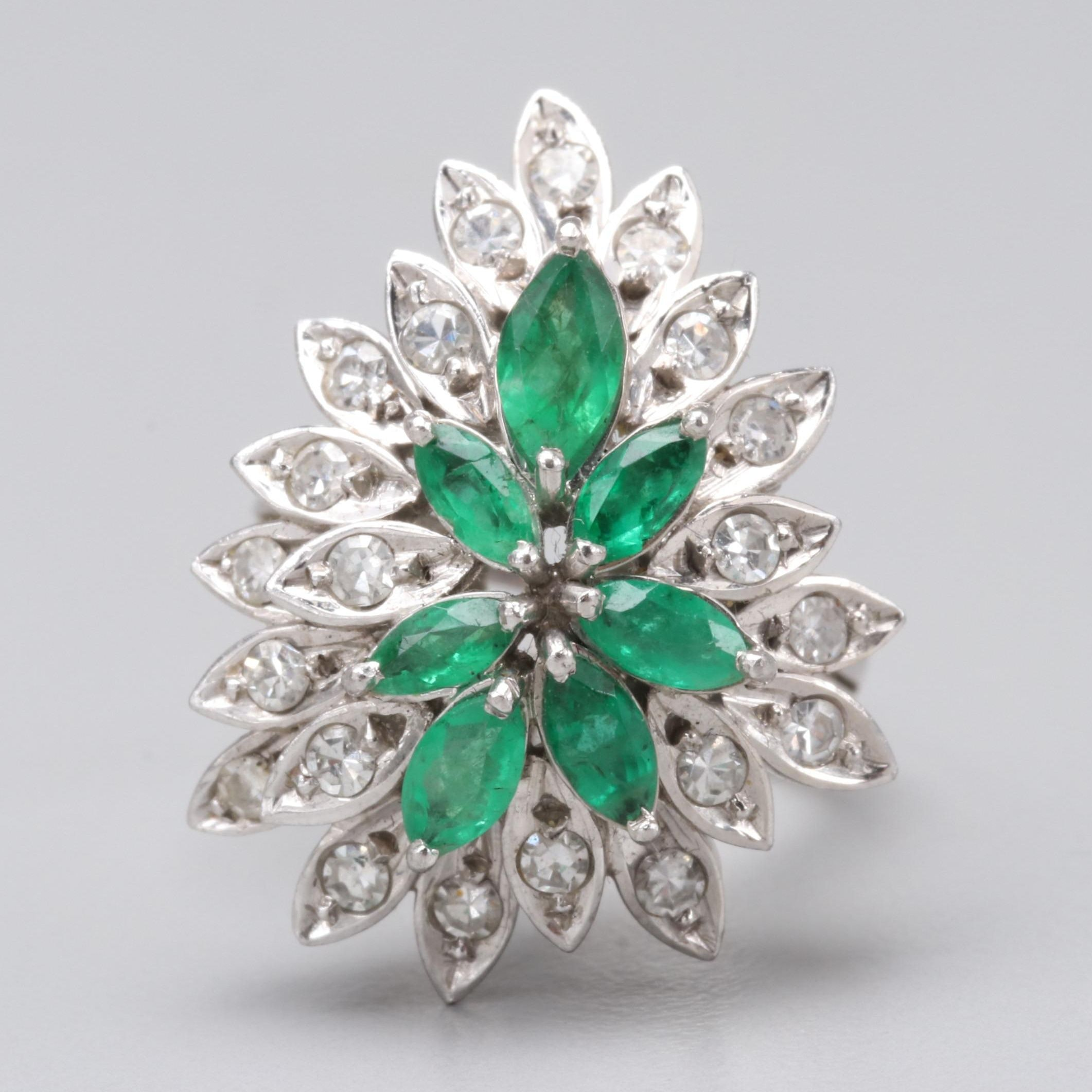10K White Gold Emerald and Diamond Cocktail Ring