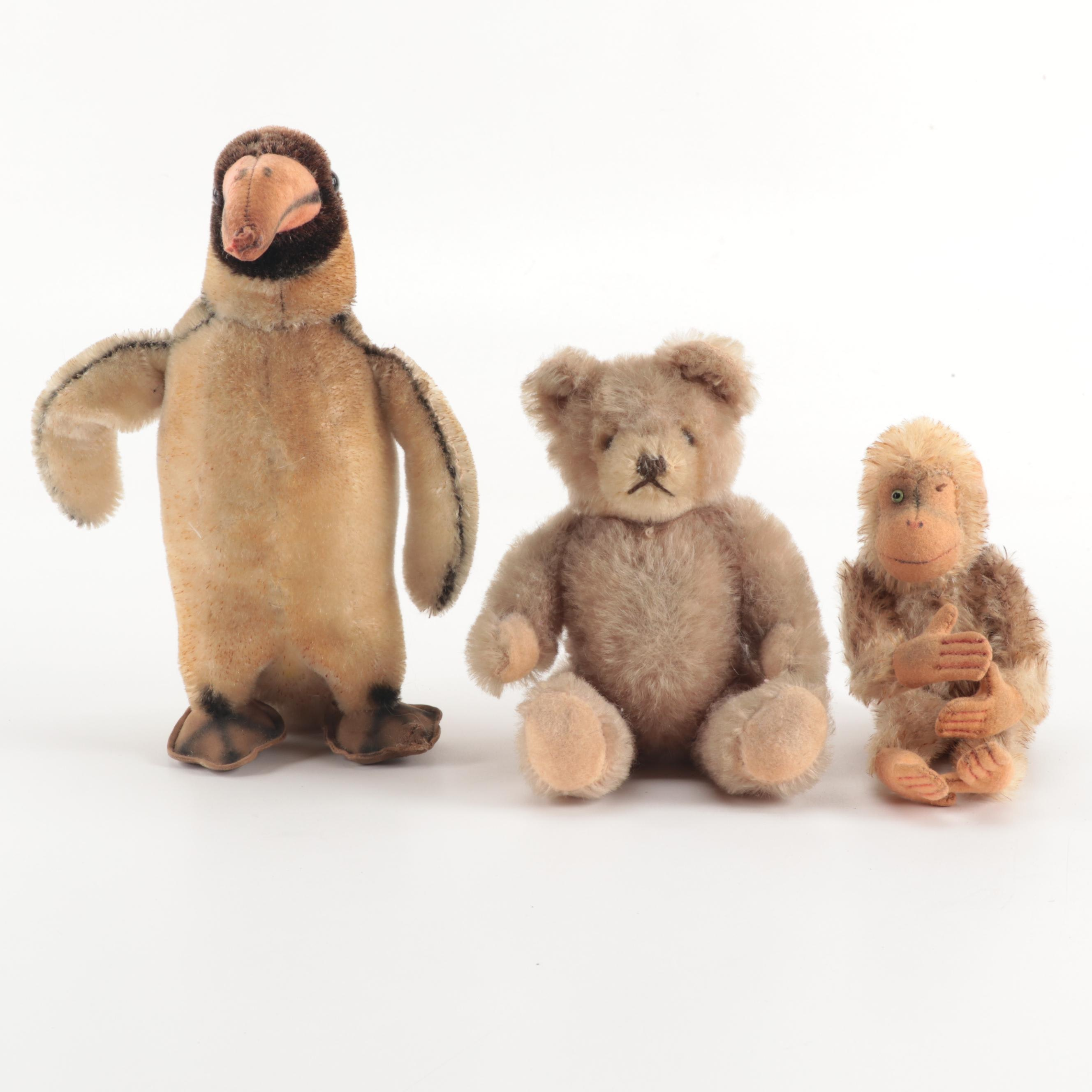 Vintage Steiff Style Penguin, Teddy Bear and Monkey Stuffed Toys