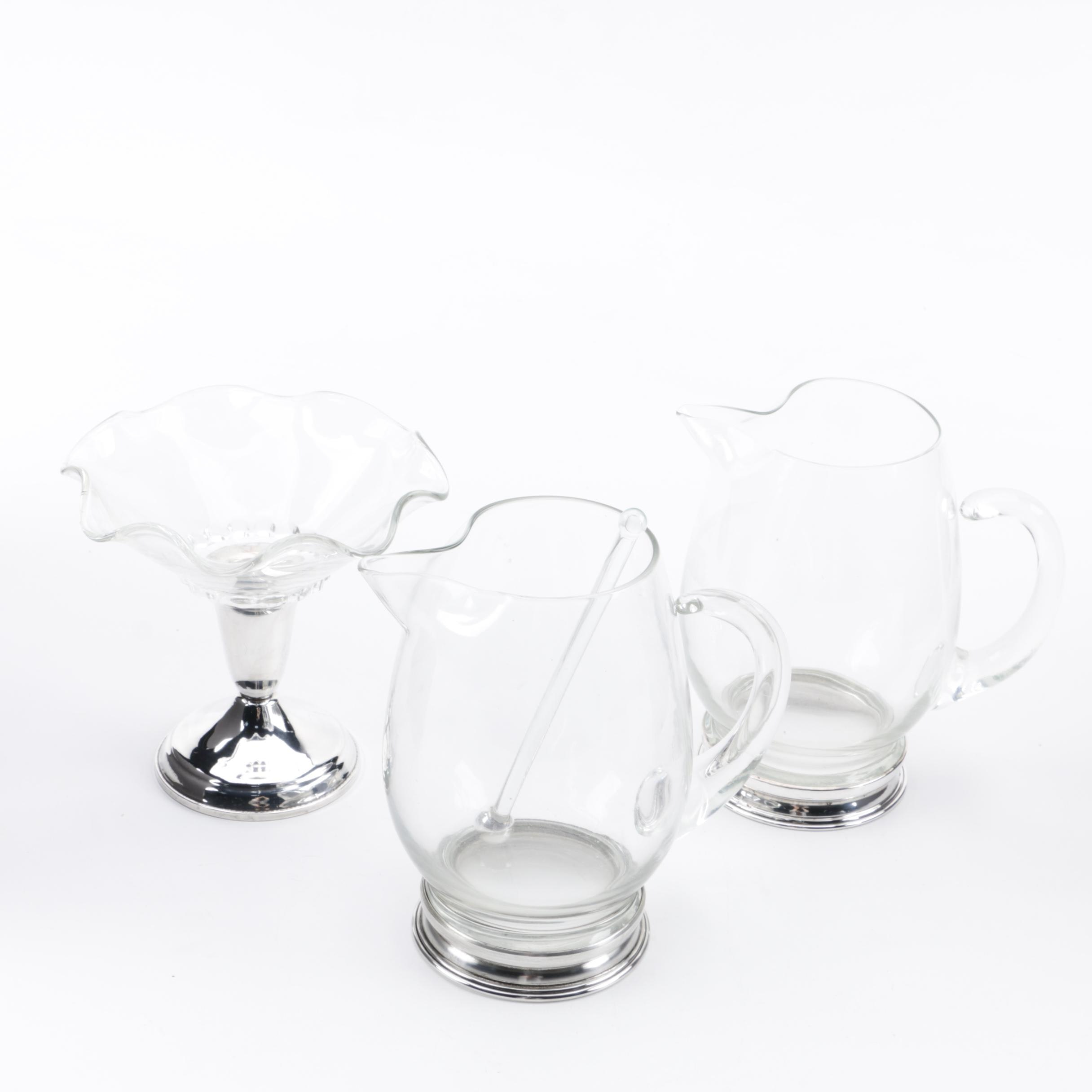 Mid-Century Watson and Wallace Cocktail Pitchers with Raimond Footed Compote