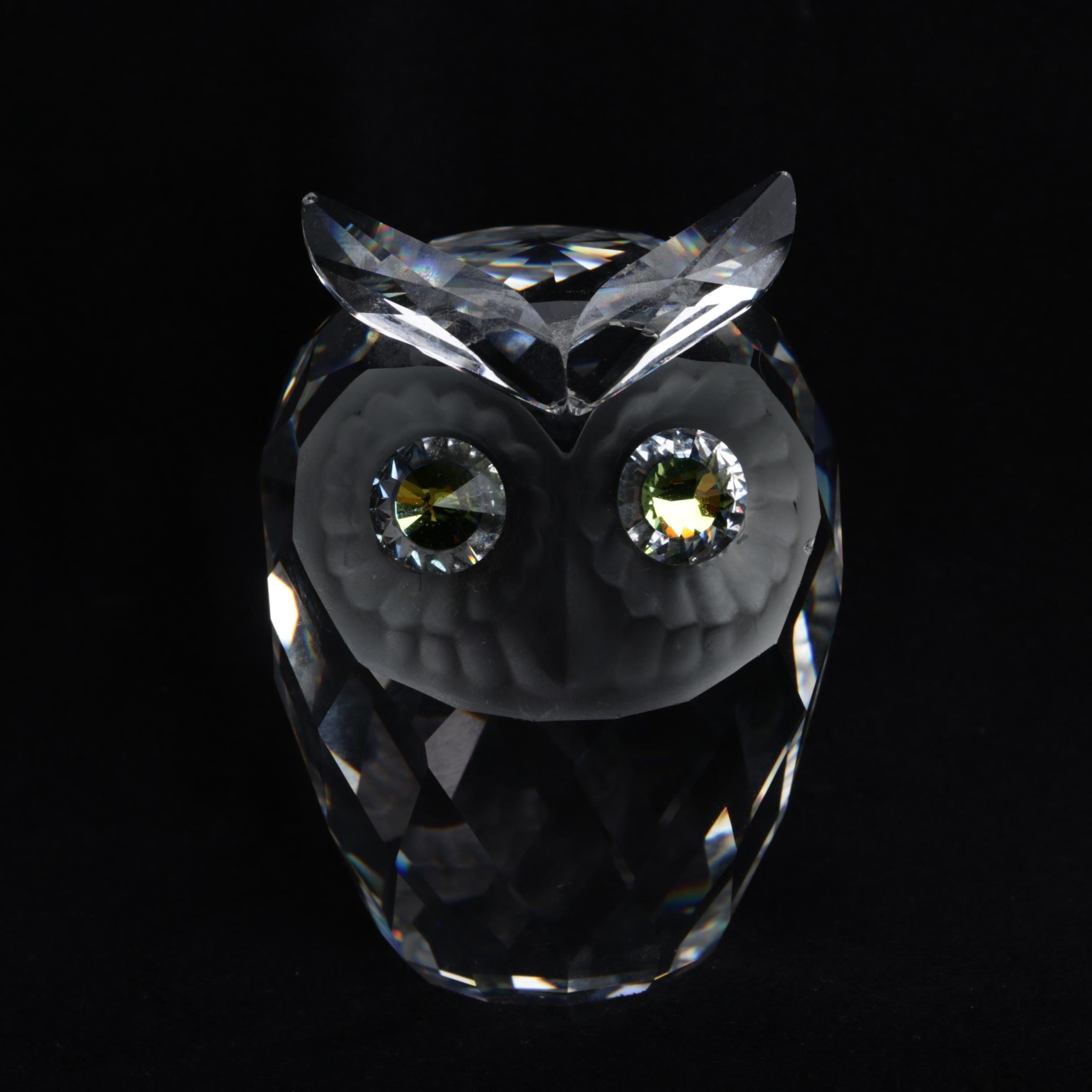 Vintage Swarovski Cut Crystal Owl Figurine