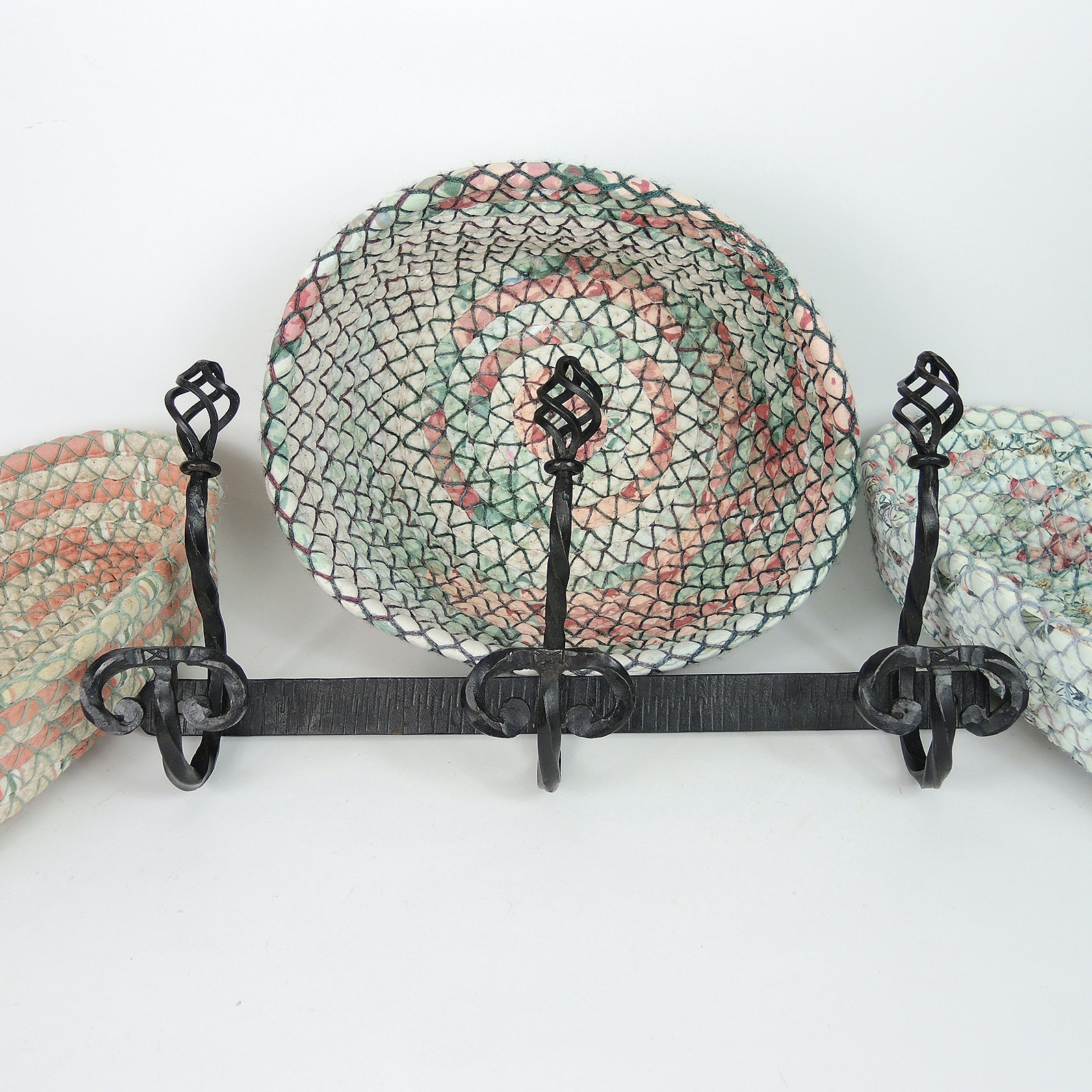 Rope Baskets Attributed to Williamsburg and Wrought Iron Hook Rail