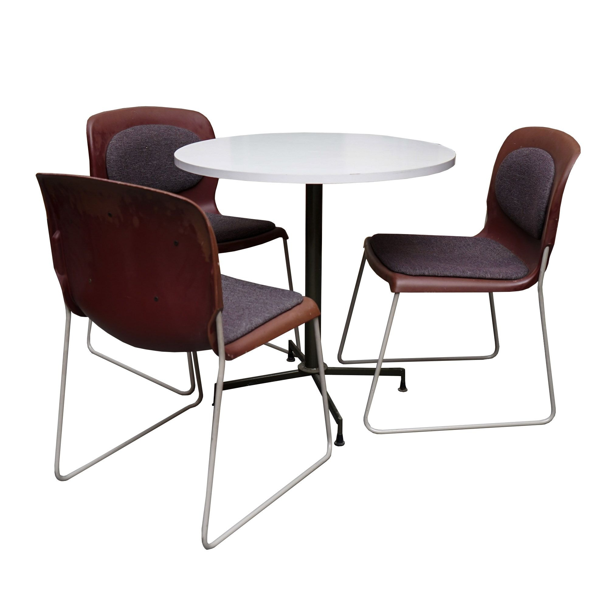 Mid Century Modern Table and Sleigh Leg Chairs