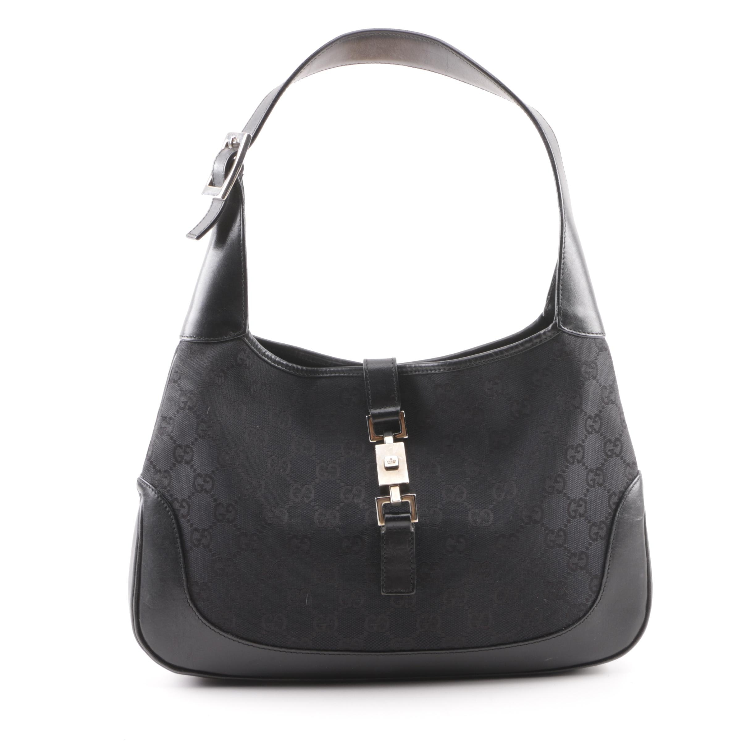 Gucci Jackie O Black GG Canvas and Leather Small Hobo Bag
