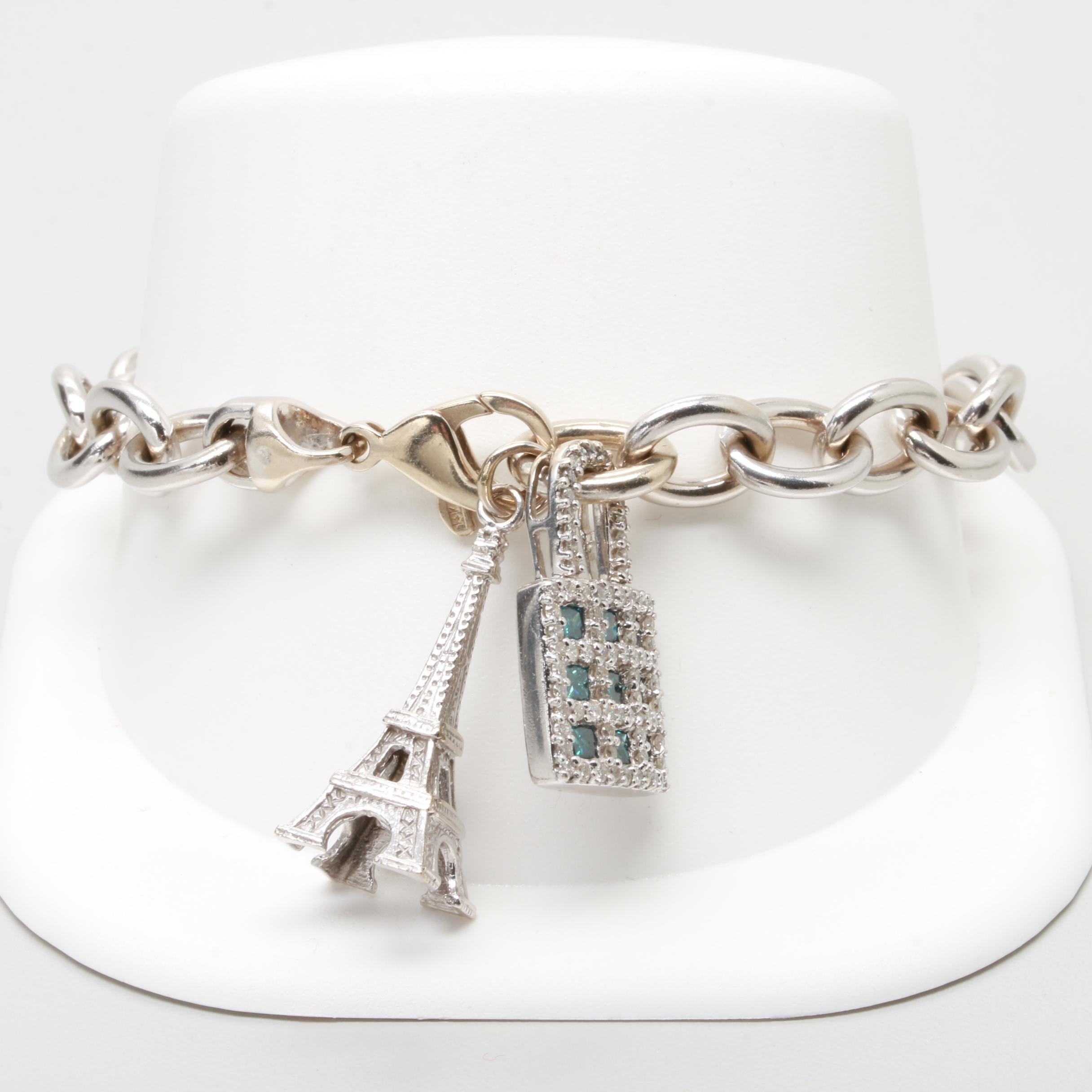 14K White Gold 1.19 CTW Diamond Bracelet with Charms