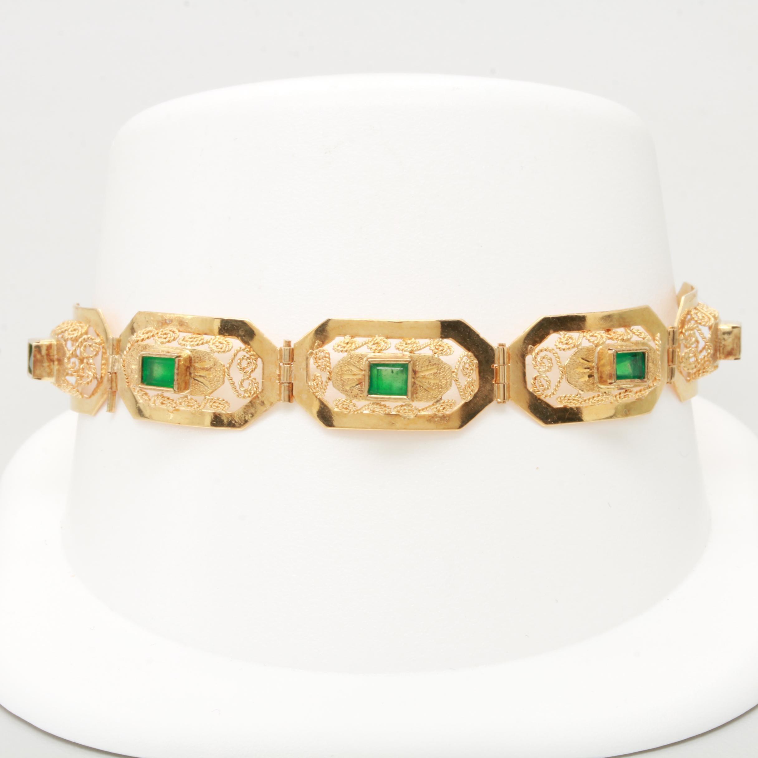 18K Yellow Gold 2.00 CTW Emerald Filigree Link Bracelet