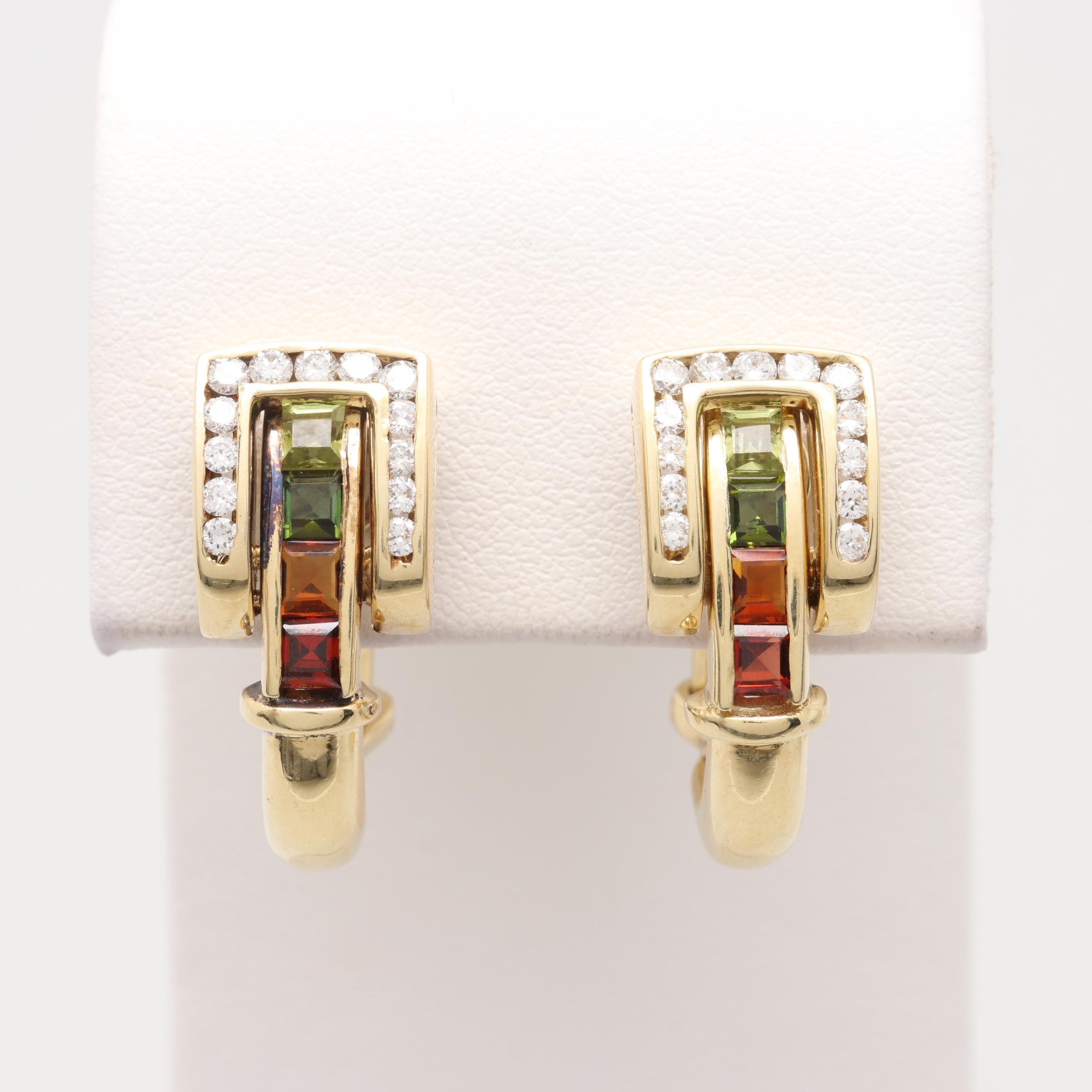 14K Yellow Gold Buckle Motif Omega Back Earrings with Peridot and Diamond