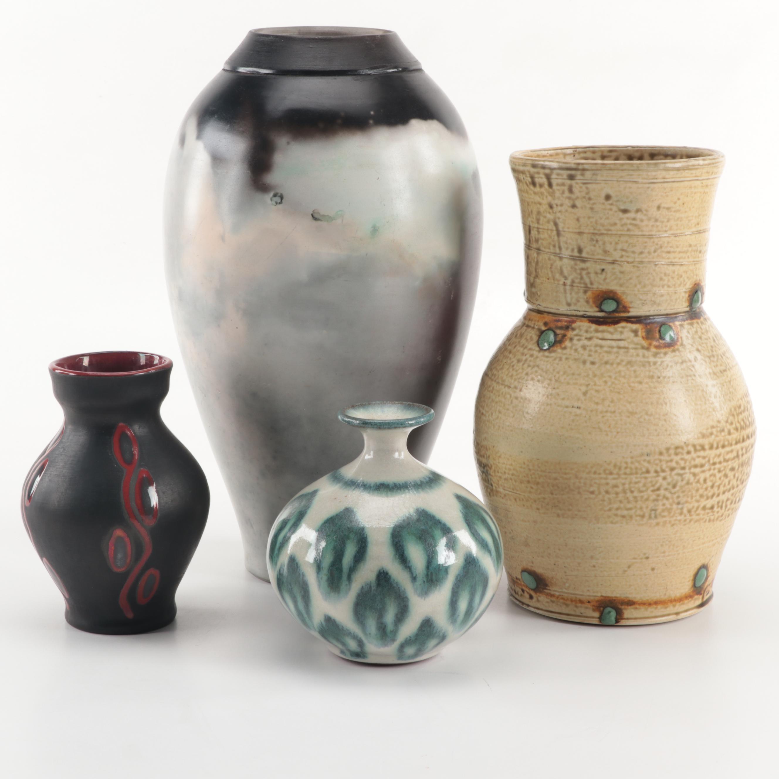 Studio Pottery Vases Including Watz Raku