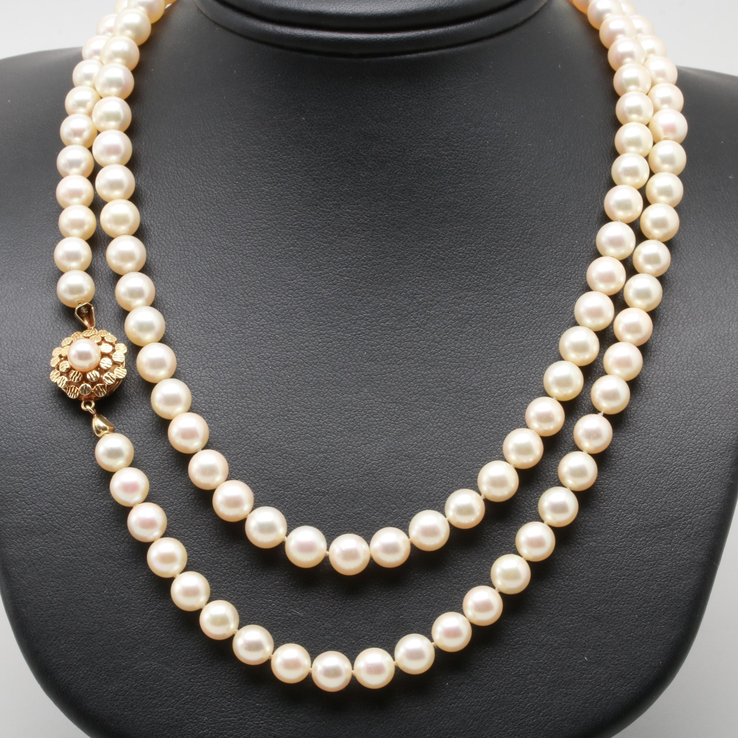 Mikimoto 14K Yellow Gold Cultured Pearl Necklace