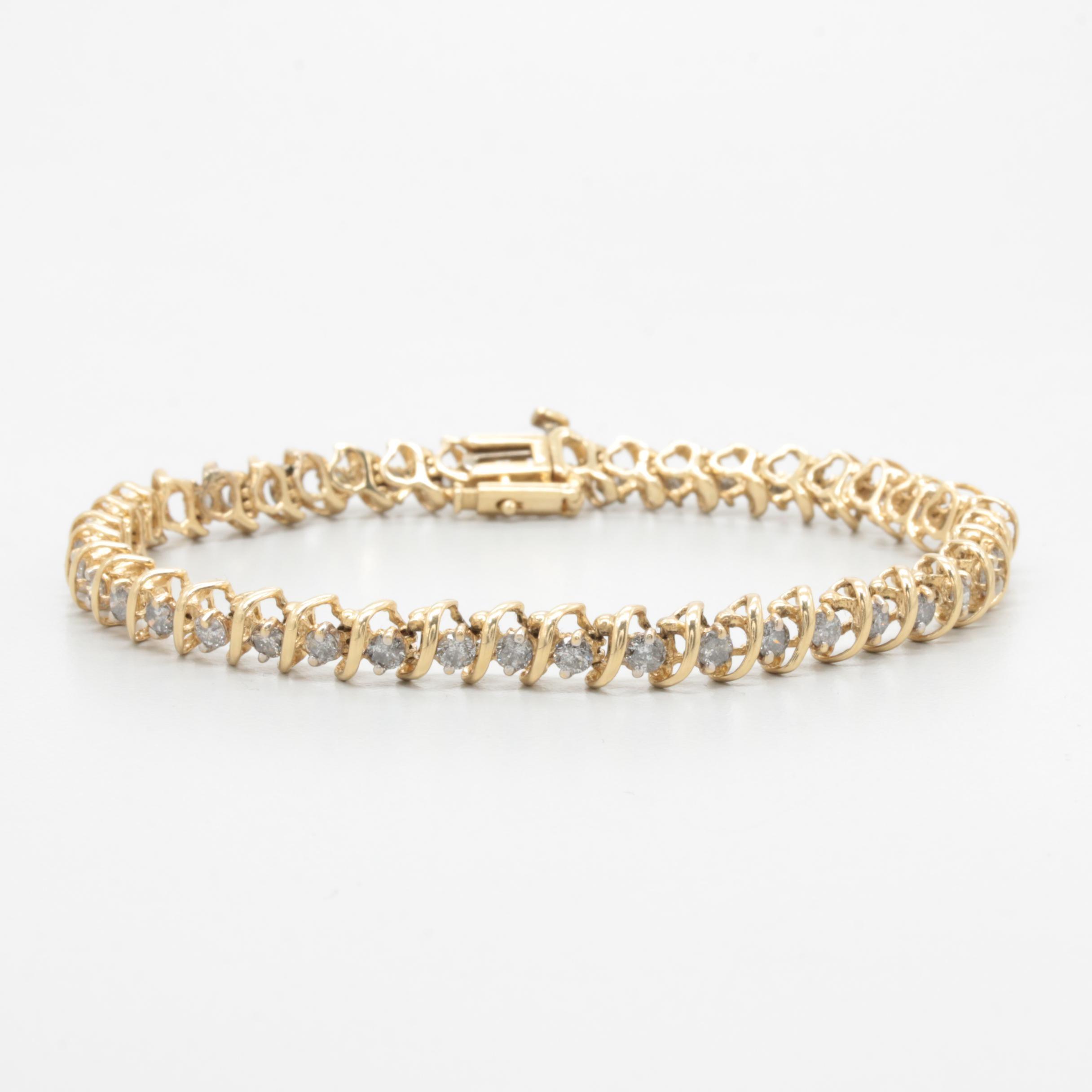 14K Yellow Gold Diamond 2.75 ctw Tennis Bracelet