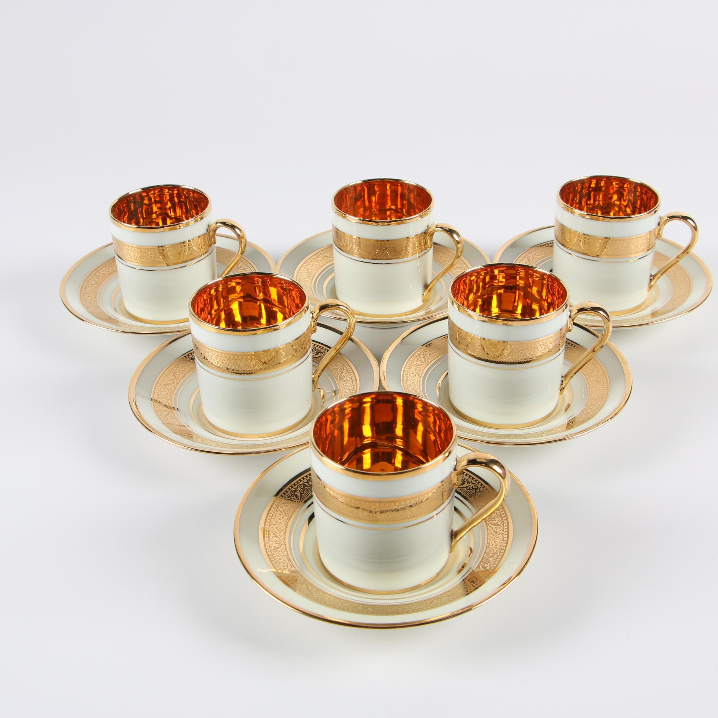 "Limoges ""Legle Porcelaine d'Art"" Demitasse Cups and Saucers"
