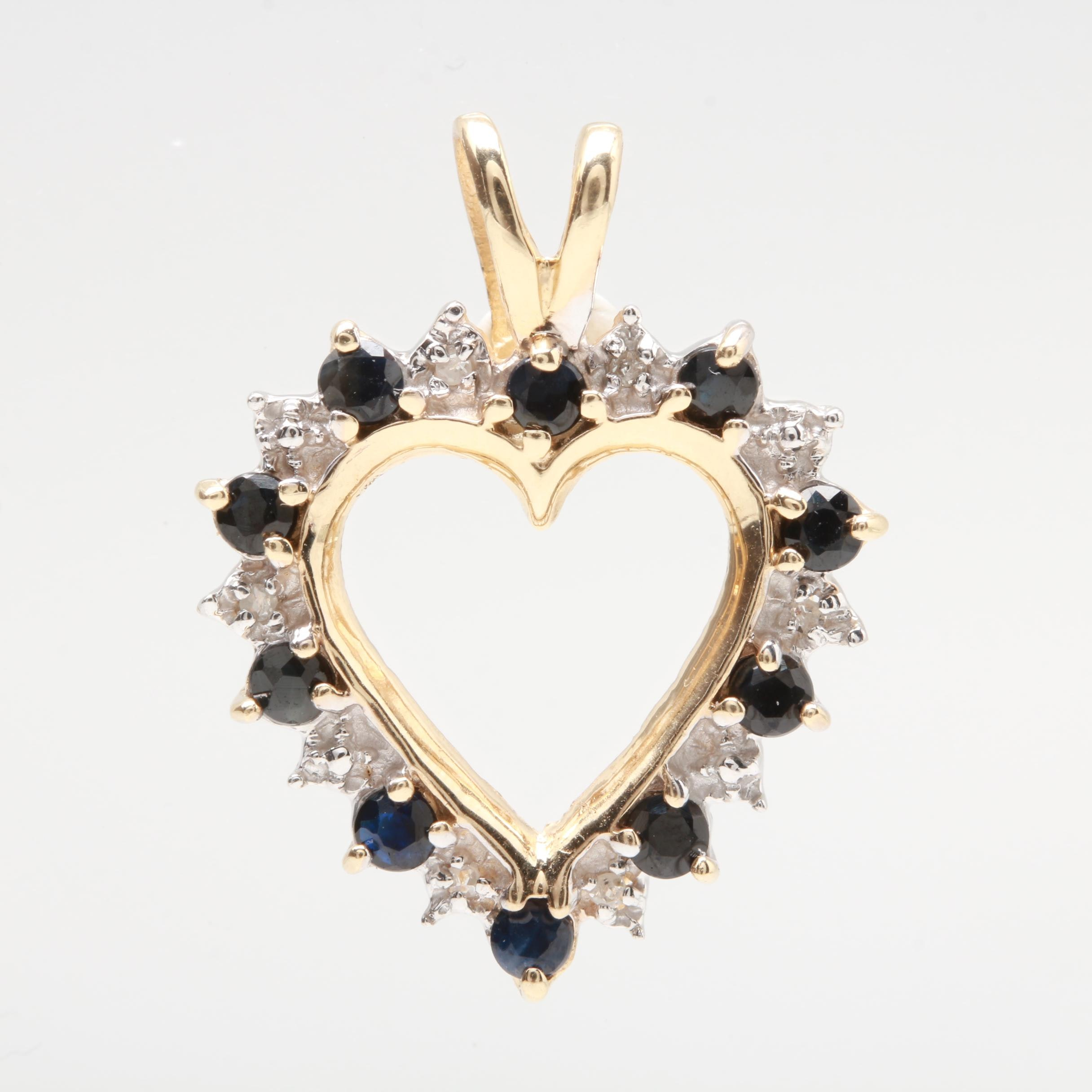 14K Yellow Gold Blue Sapphire and Diamond Heart Pendant