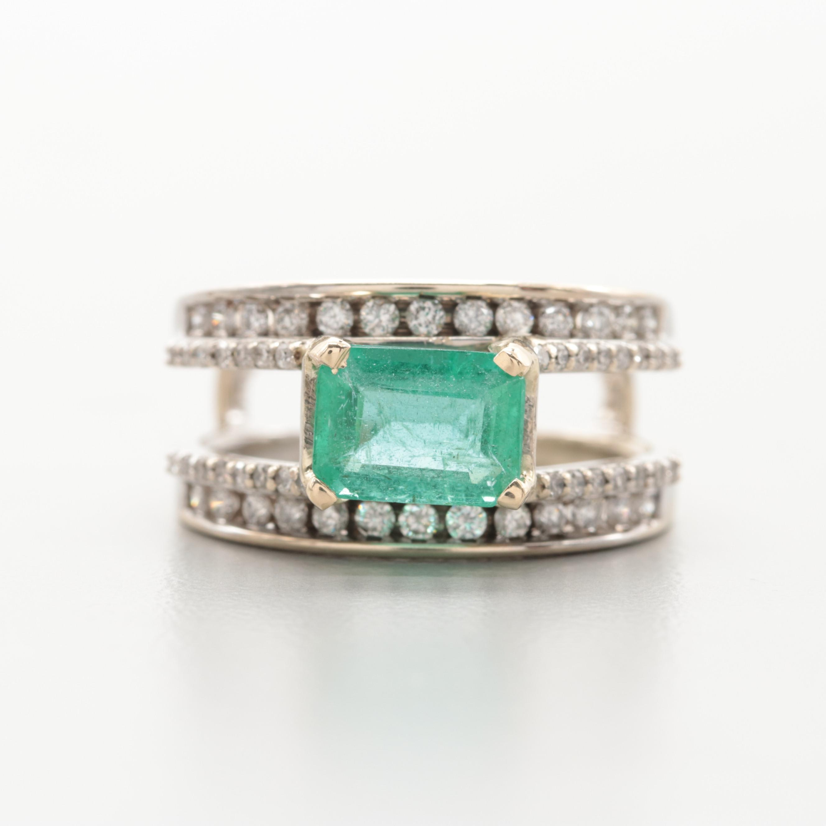 14K White Gold 1.10 CT Emerald and Diamond Ring