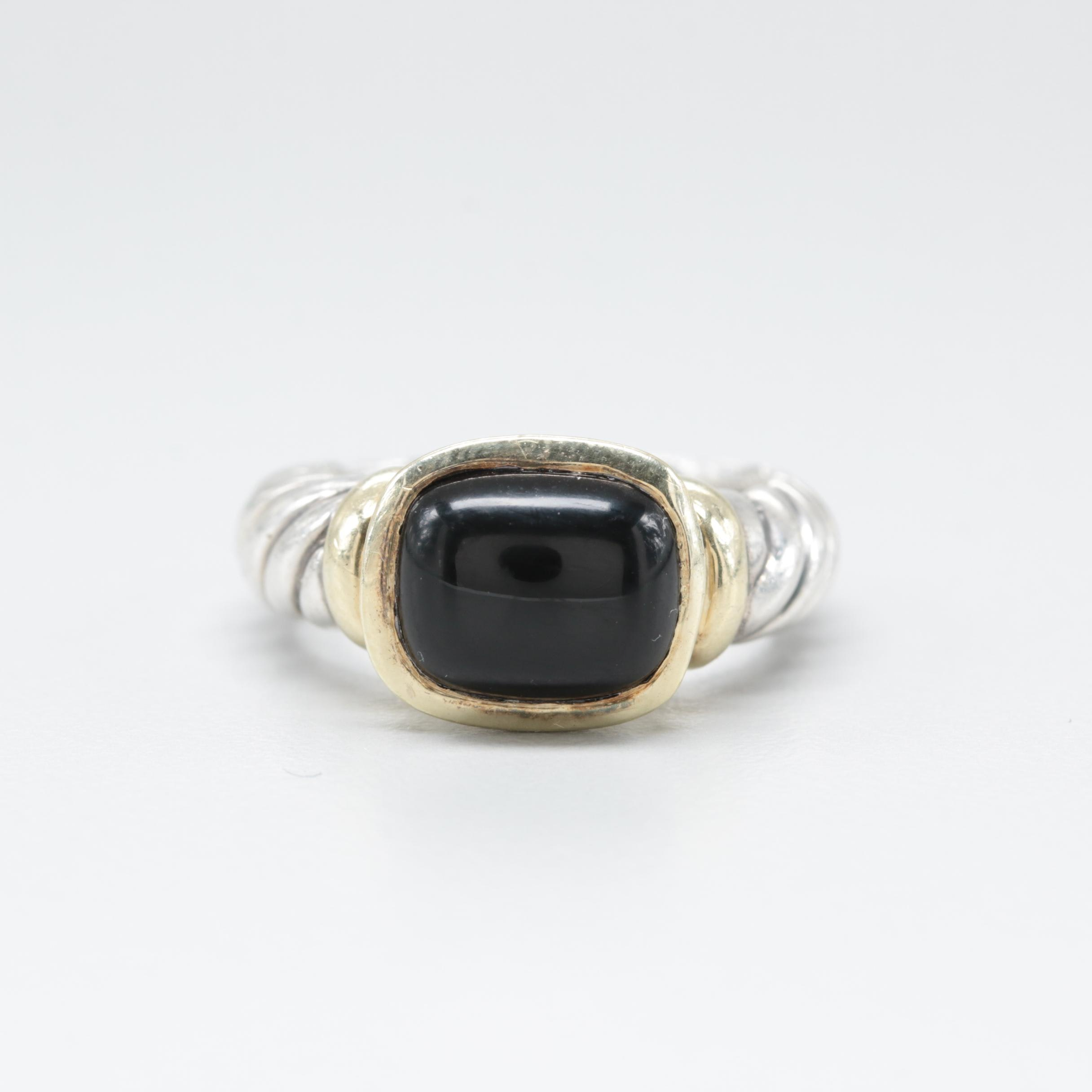 """David Yurman Sterling Silver """"Noblesse"""" Black Onyx Ring with 14K Gold Accents"""