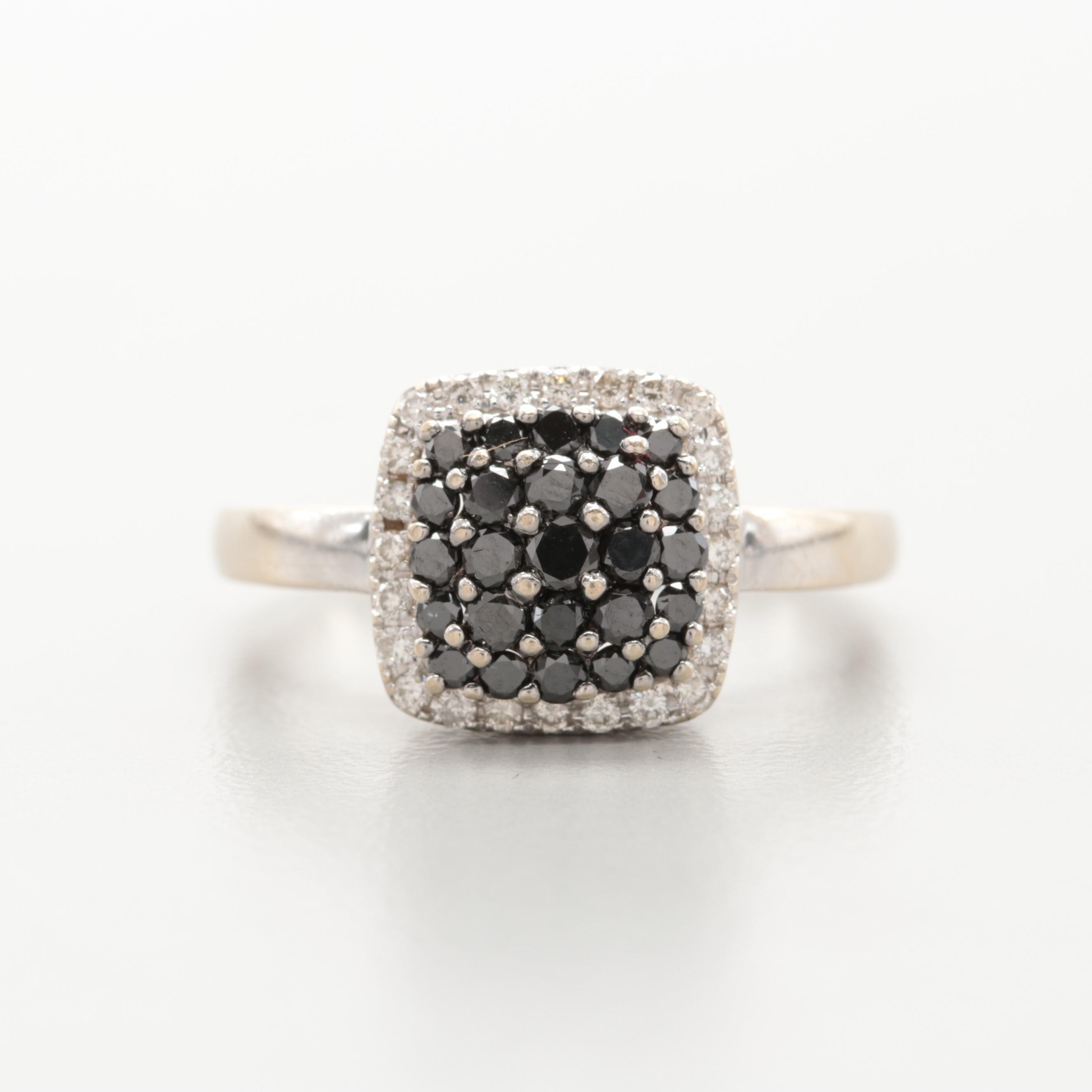 14K White Gold Diamond Ring Featuring Black Diamond Center