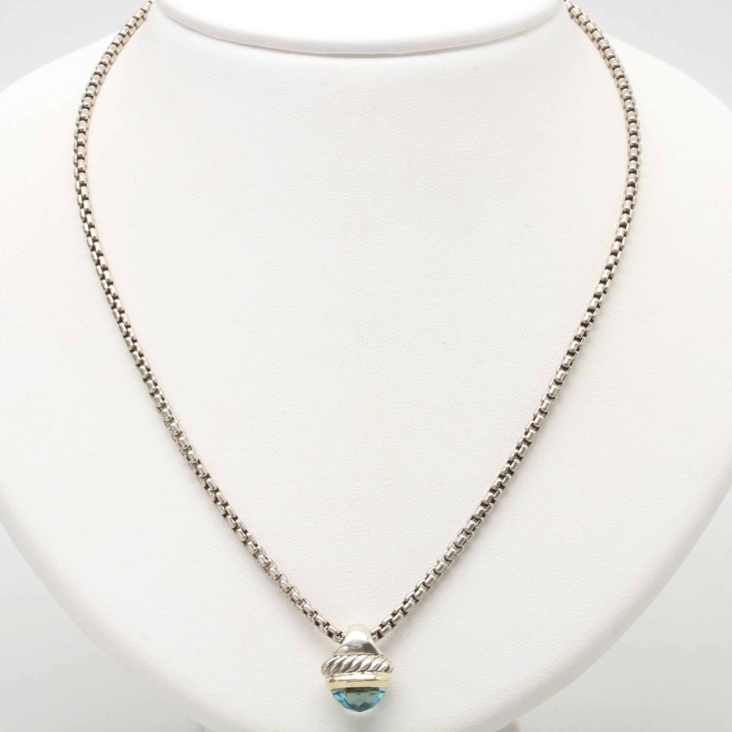 David Yurman Sterling Silver Blue Topaz Acorn Pendant Necklace with 14K Accents